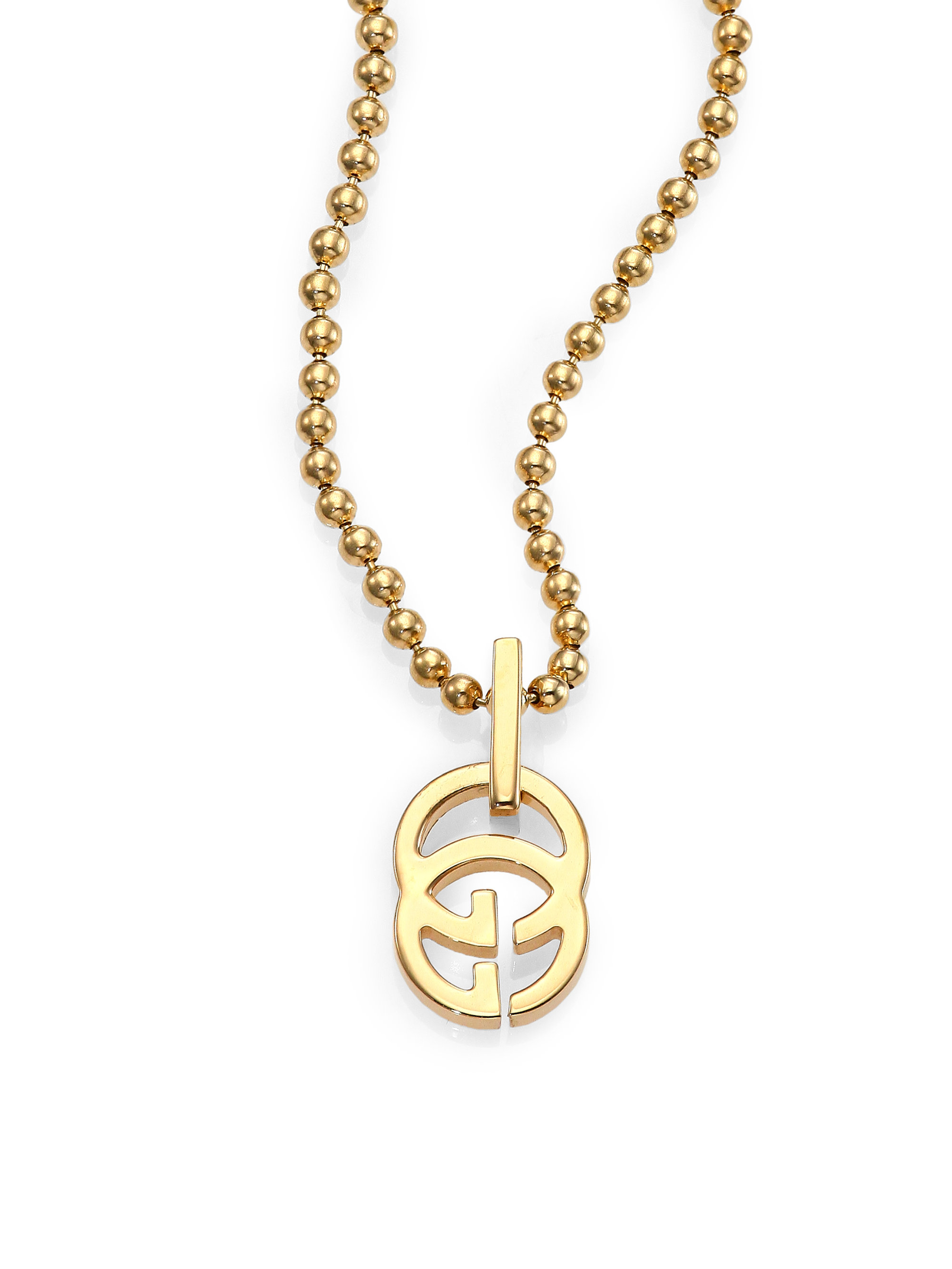 gucci running g 18k yellow gold pendant necklace in