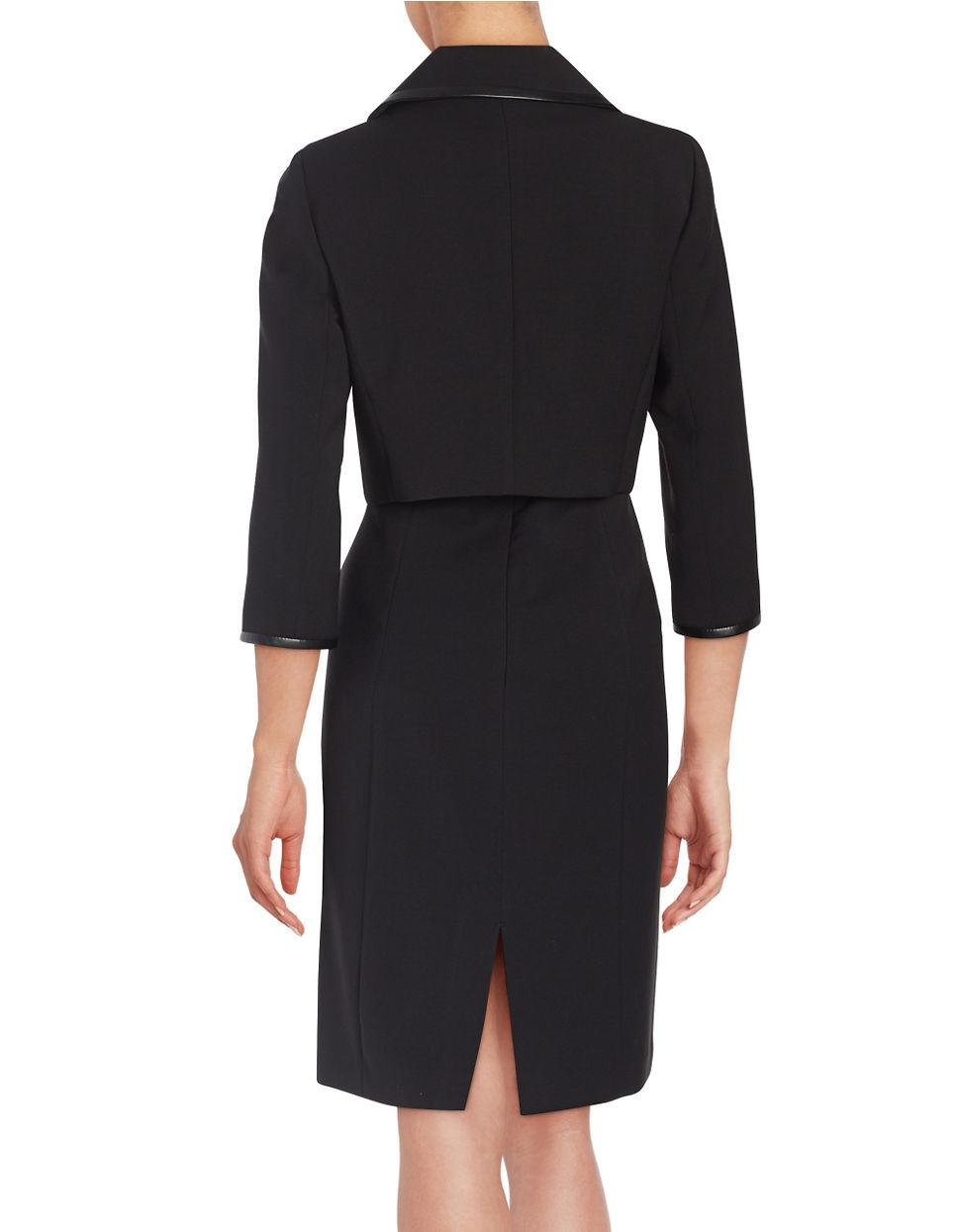 Tahari Petite Pencil Dress And Jacket Suit in Black | Lyst