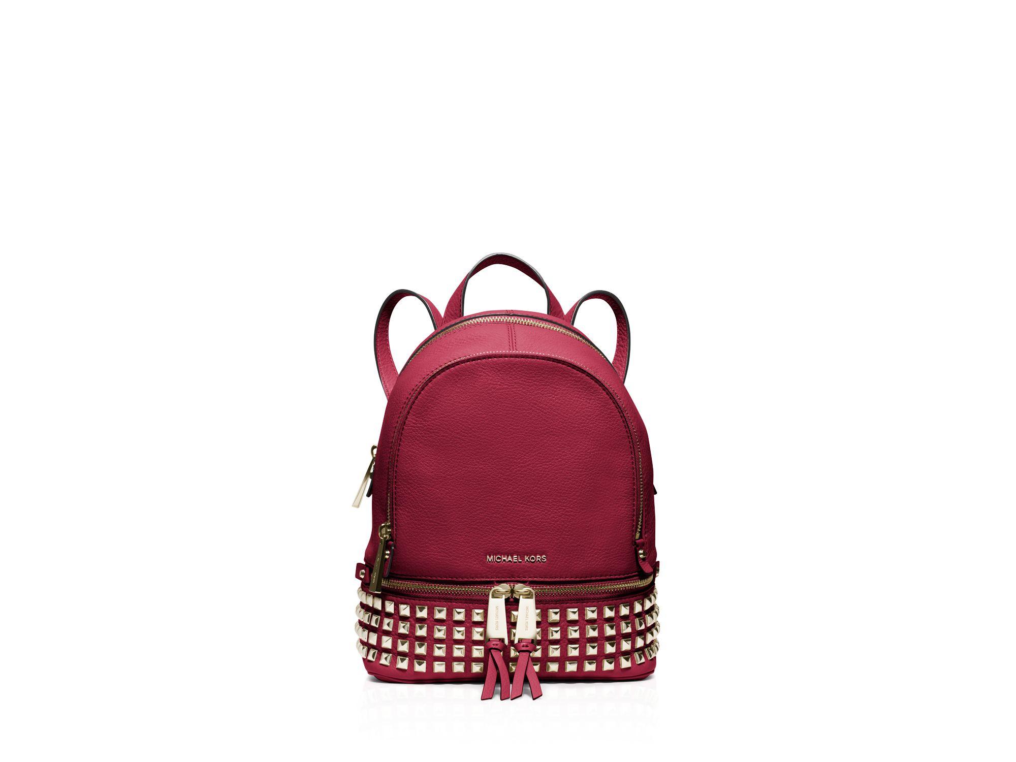 d431ba6c0c ... shop lyst michael michael kors extra small rhea zip backpack in pink  bd3db 3dc35