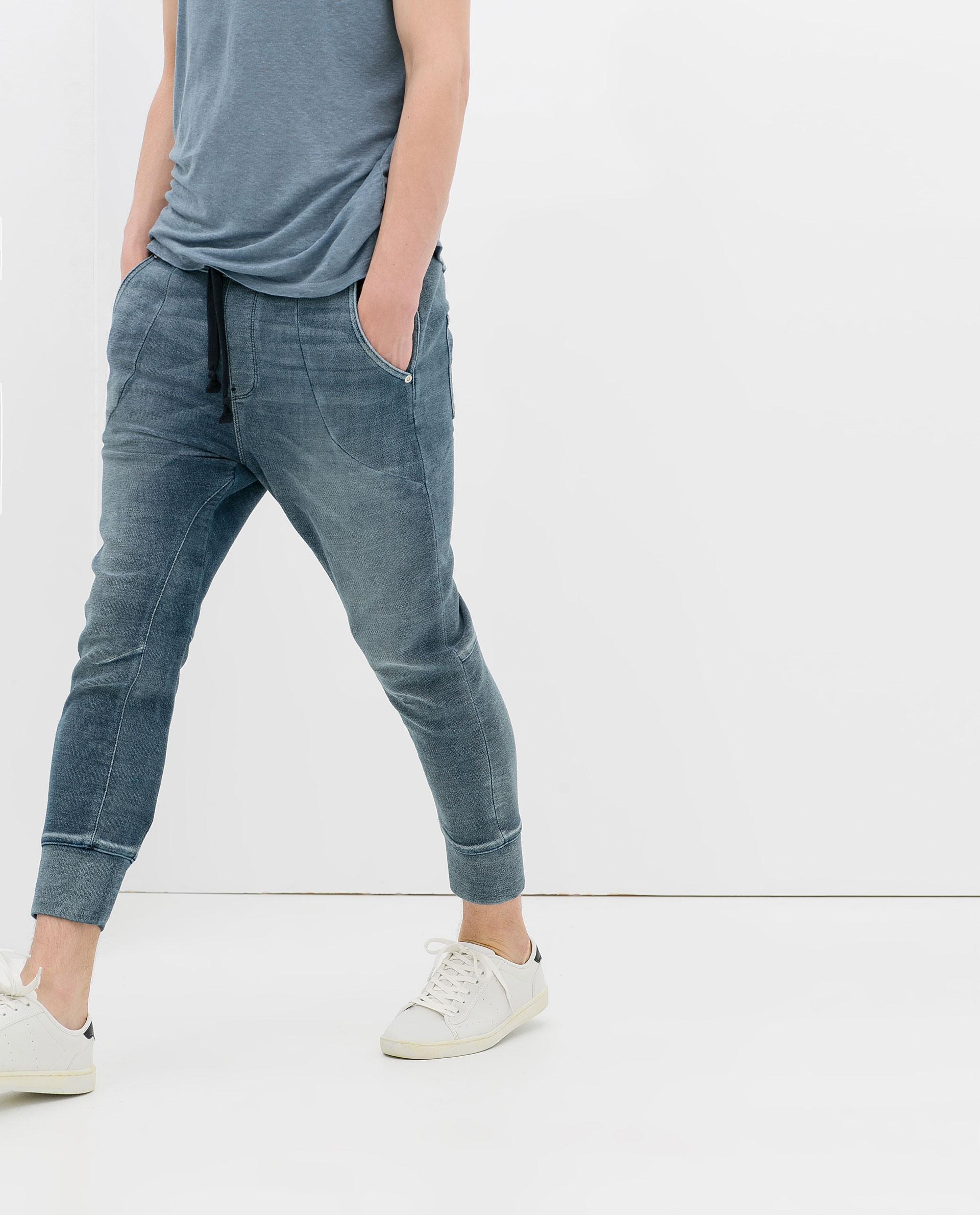 Excellent Zara Felt And Denim Baggy Trousers In Blue For Men Dark Blue