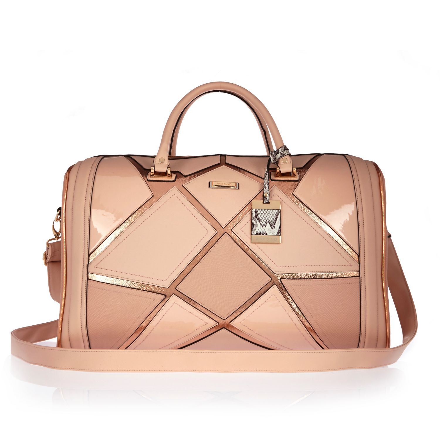 River island Pink Patchwork Weekend Bag in Pink | Lyst