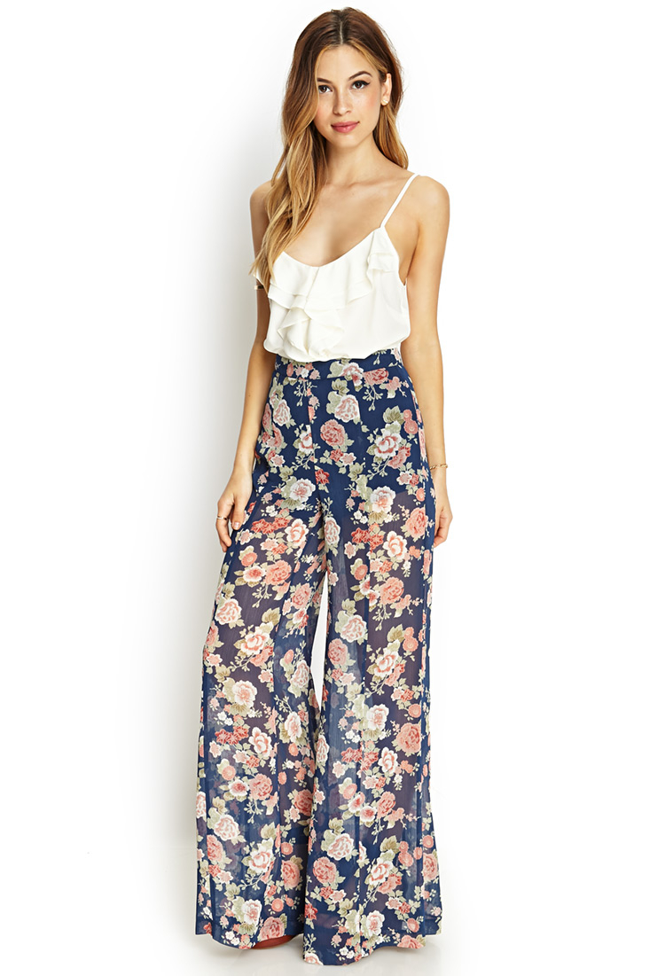 Forever 21 Floral Print Wide-leg Pants | Lyst