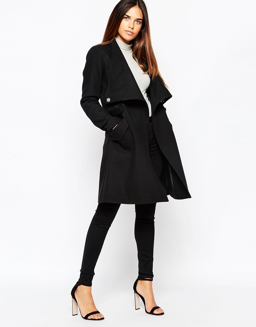 Warehouse Belted Coat in Black | Lyst