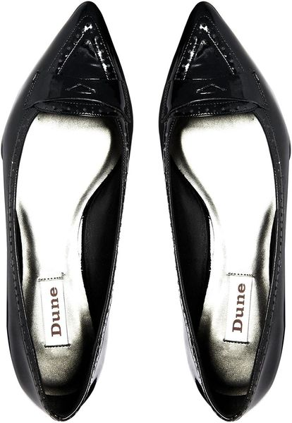 Dune Marden Pointed Flat Shoes In Black (Blackpatent)   Lyst