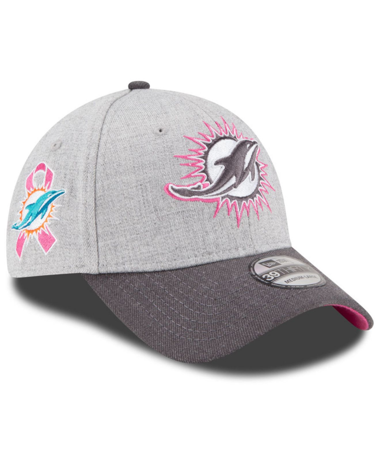 2e3a798619742a ... hot lyst ktz miami dolphins breast cancer awareness 39thirty cap in  gray f1b68 a077a