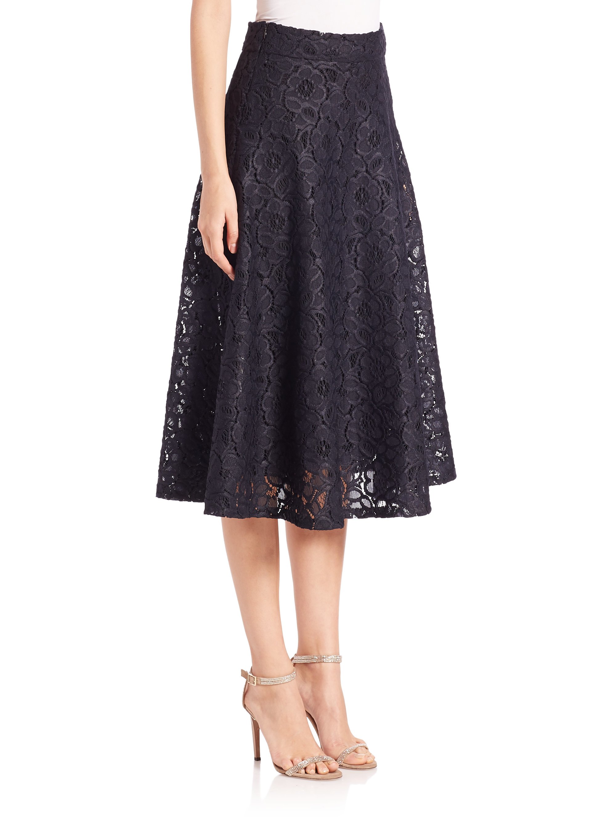 Dkny Lace Midi Skirt in Blue | Lyst