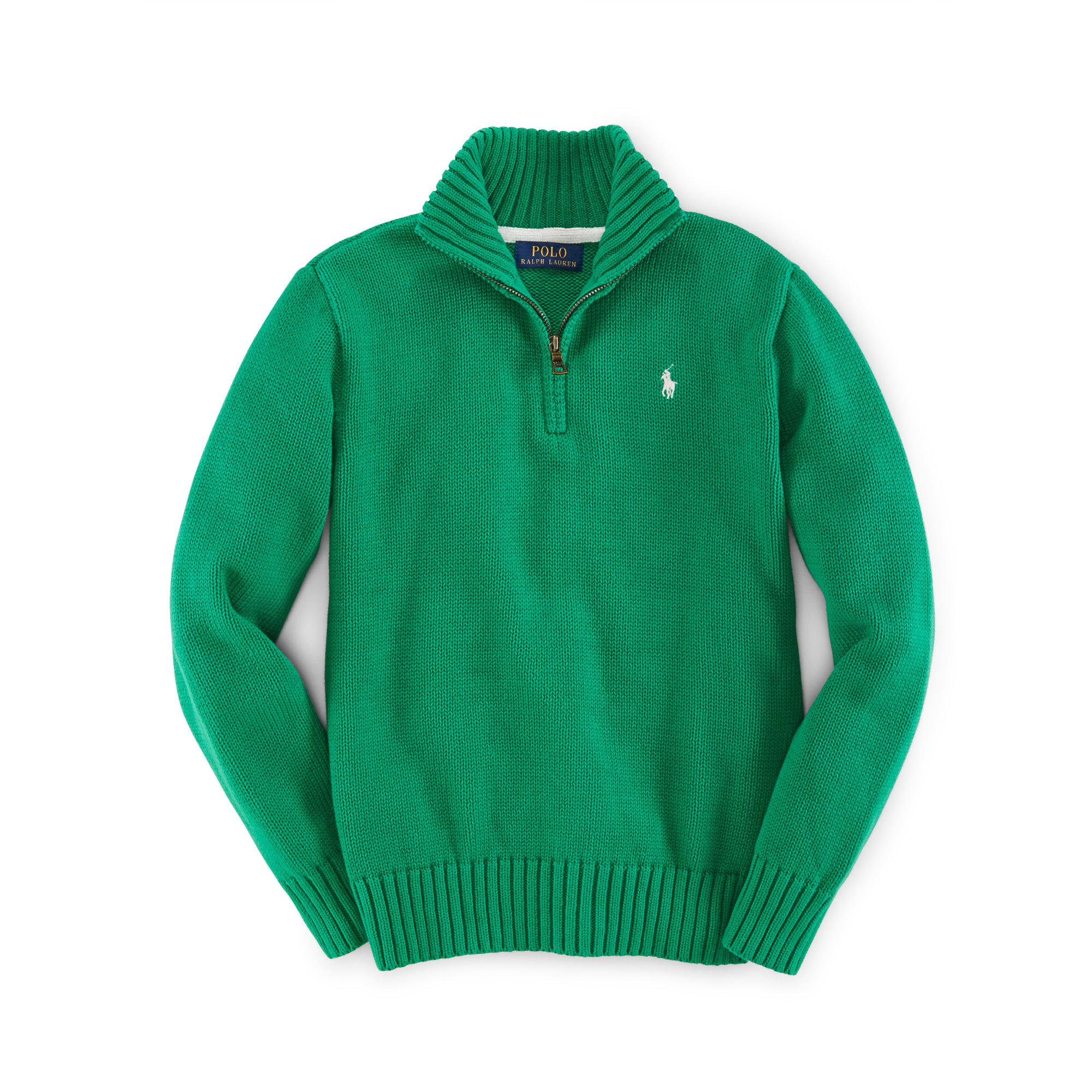Ralph lauren Cotton Half-zip Sweater in Green | Lyst