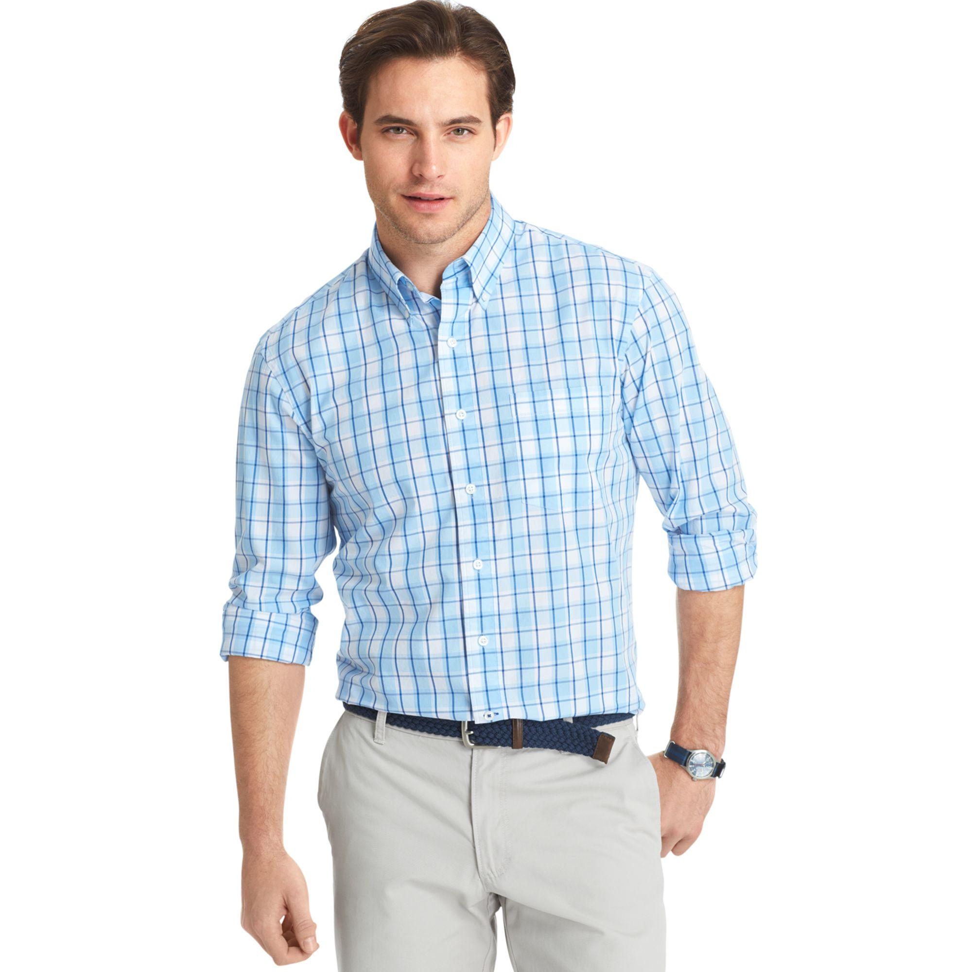 Lyst izod big and tall plaid lightweight poplin shirt in for Izod big and tall shirts