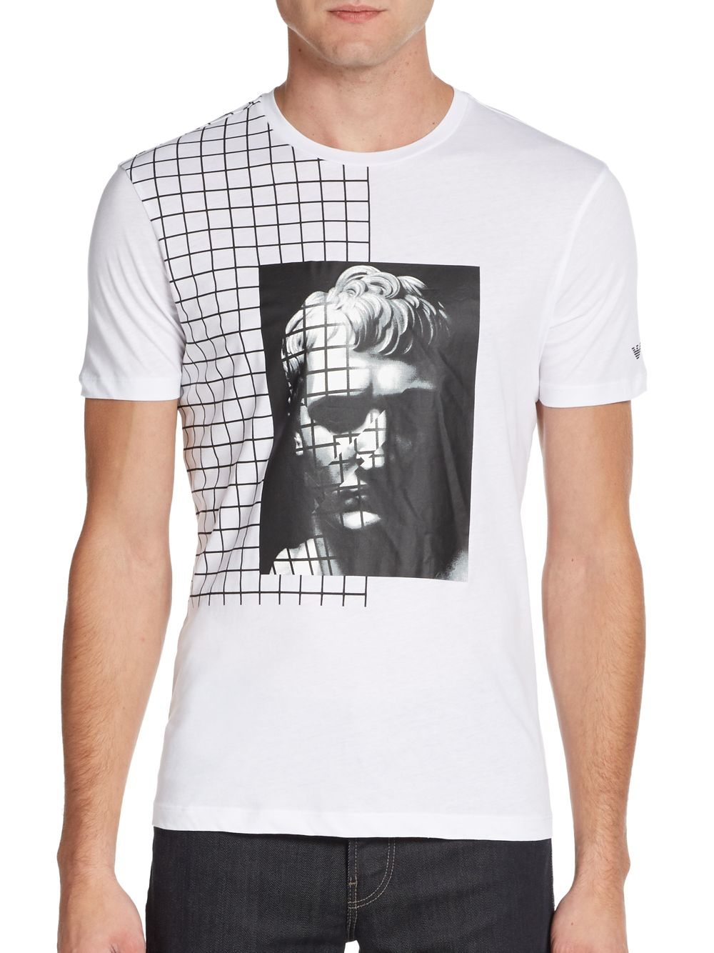 emporio armani cotton portrait graphic tee in white for men lyst. Black Bedroom Furniture Sets. Home Design Ideas