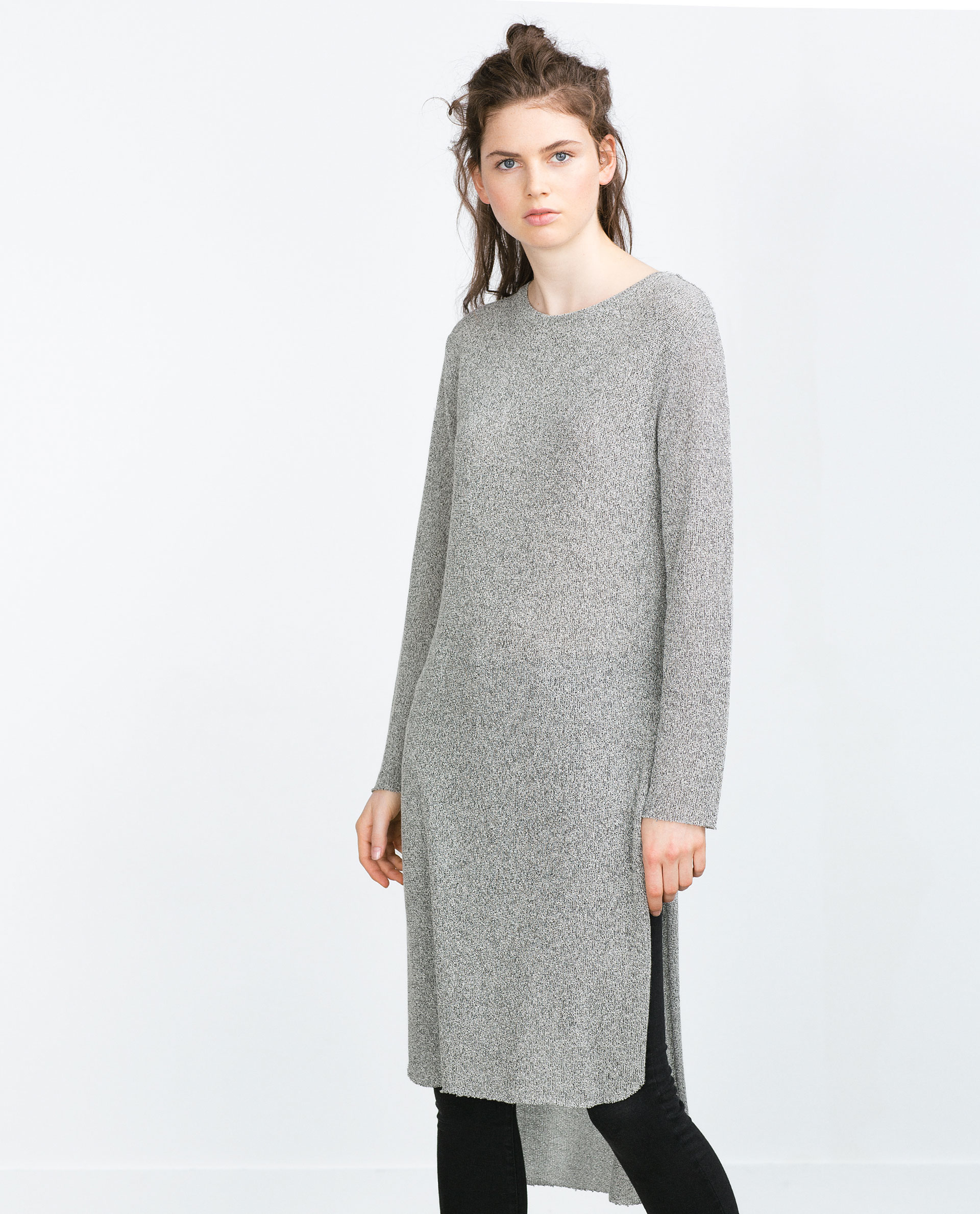 zara long sweater with side slits in gray lyst. Black Bedroom Furniture Sets. Home Design Ideas