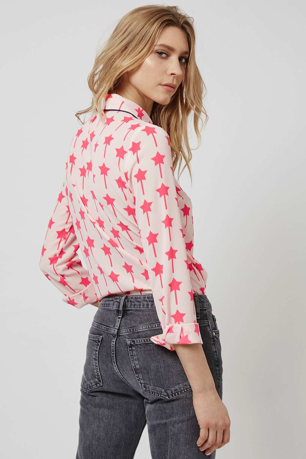 Lyst Topshop Star Print Shirt In Pink
