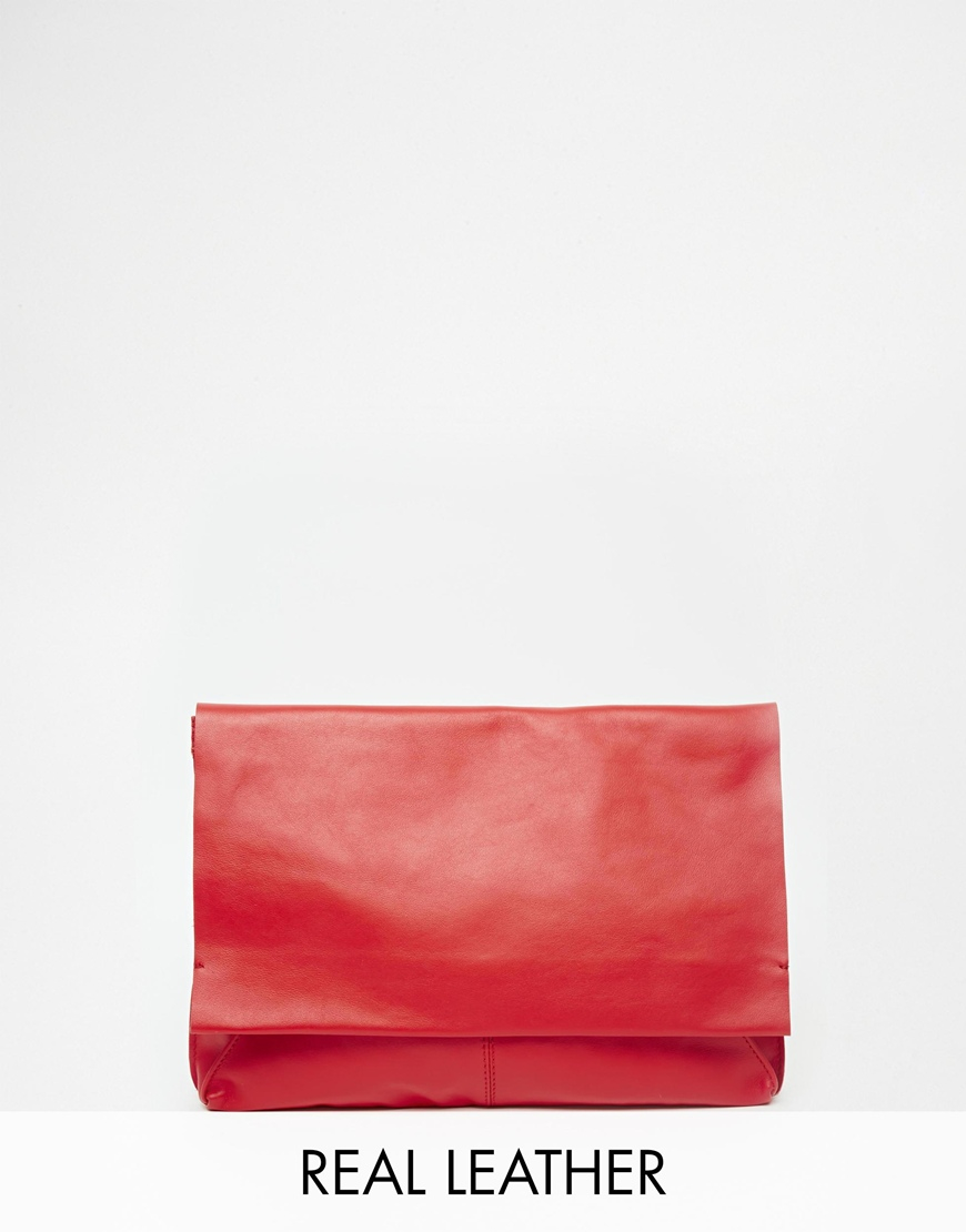 Asos Unlined Soft Leather Flap Over Clutch Bag In Red | Lyst