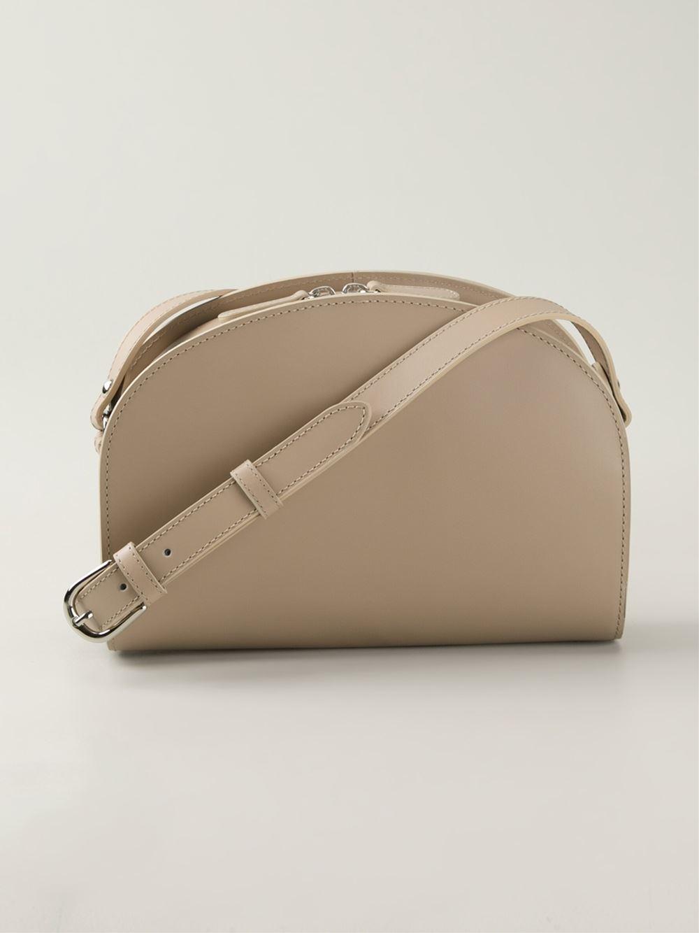 a p c half moon leather shoulder bag in natural lyst. Black Bedroom Furniture Sets. Home Design Ideas
