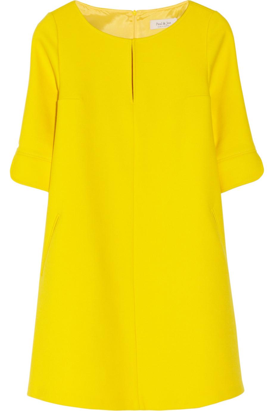 paul joe rikita woolblend twill tunic dress in yellow lyst. Black Bedroom Furniture Sets. Home Design Ideas