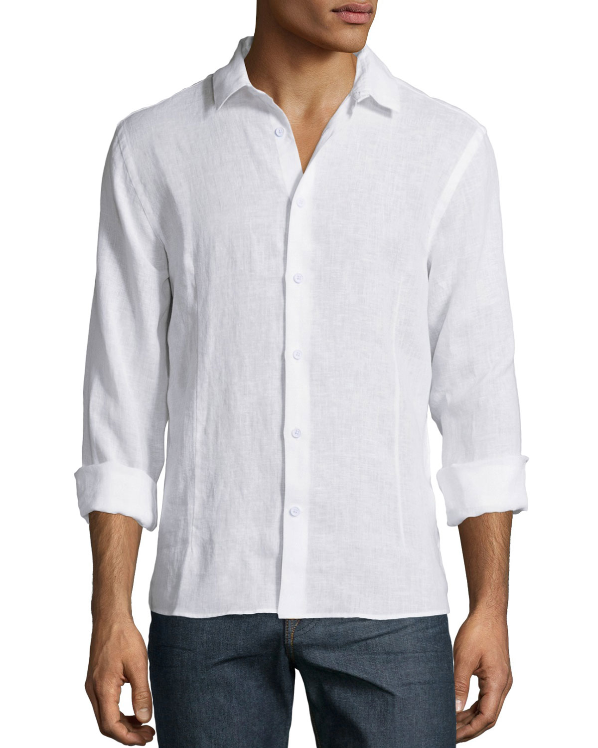 orlebar brown solid long sleeve linen shirt in white for