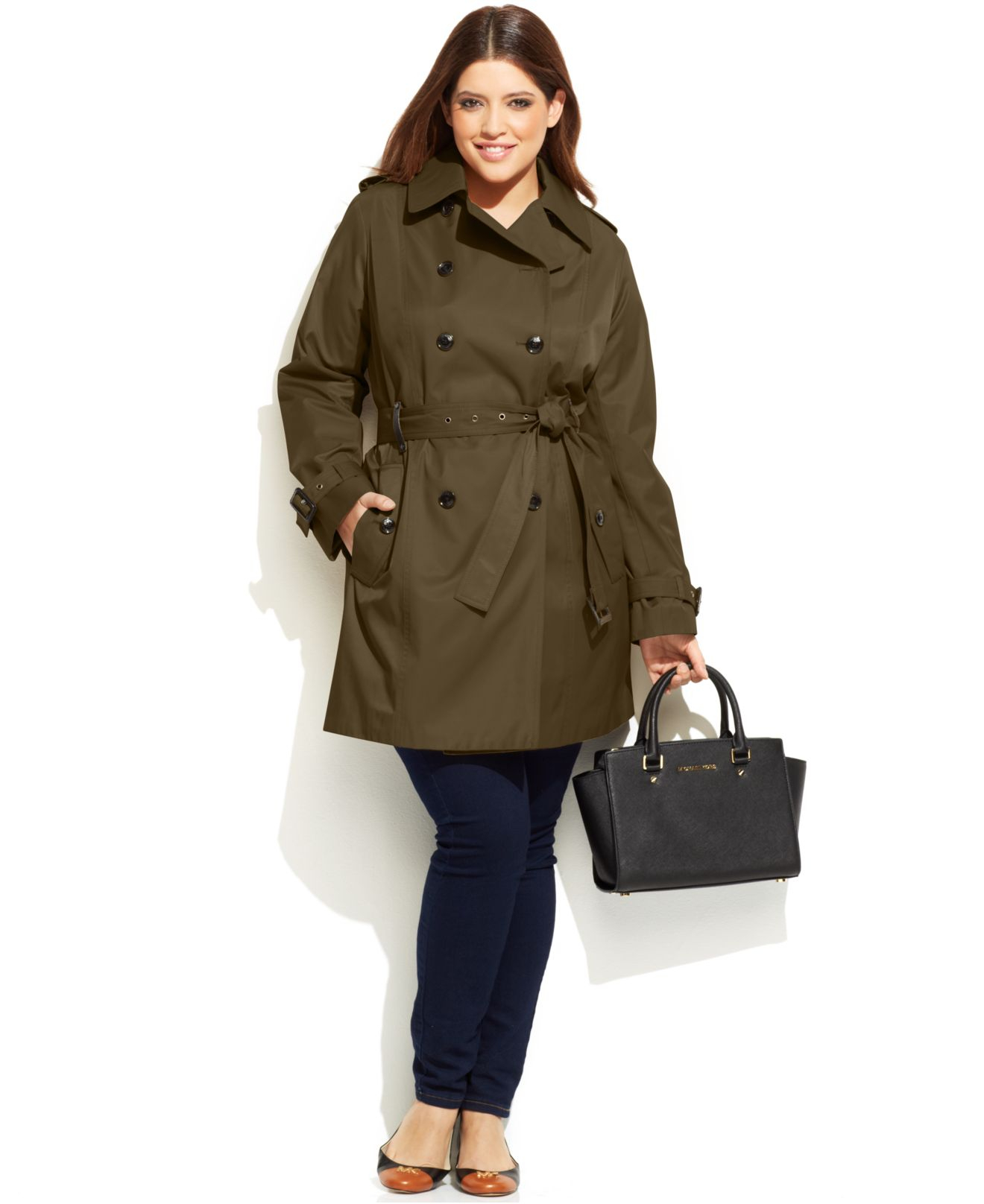 London Fog Plus Size Hooded Trench Coat - Black 0X. London Fog has you covered in this plus size trench coat, a single-breasted design with a weather-ready hood and water resistant finish.