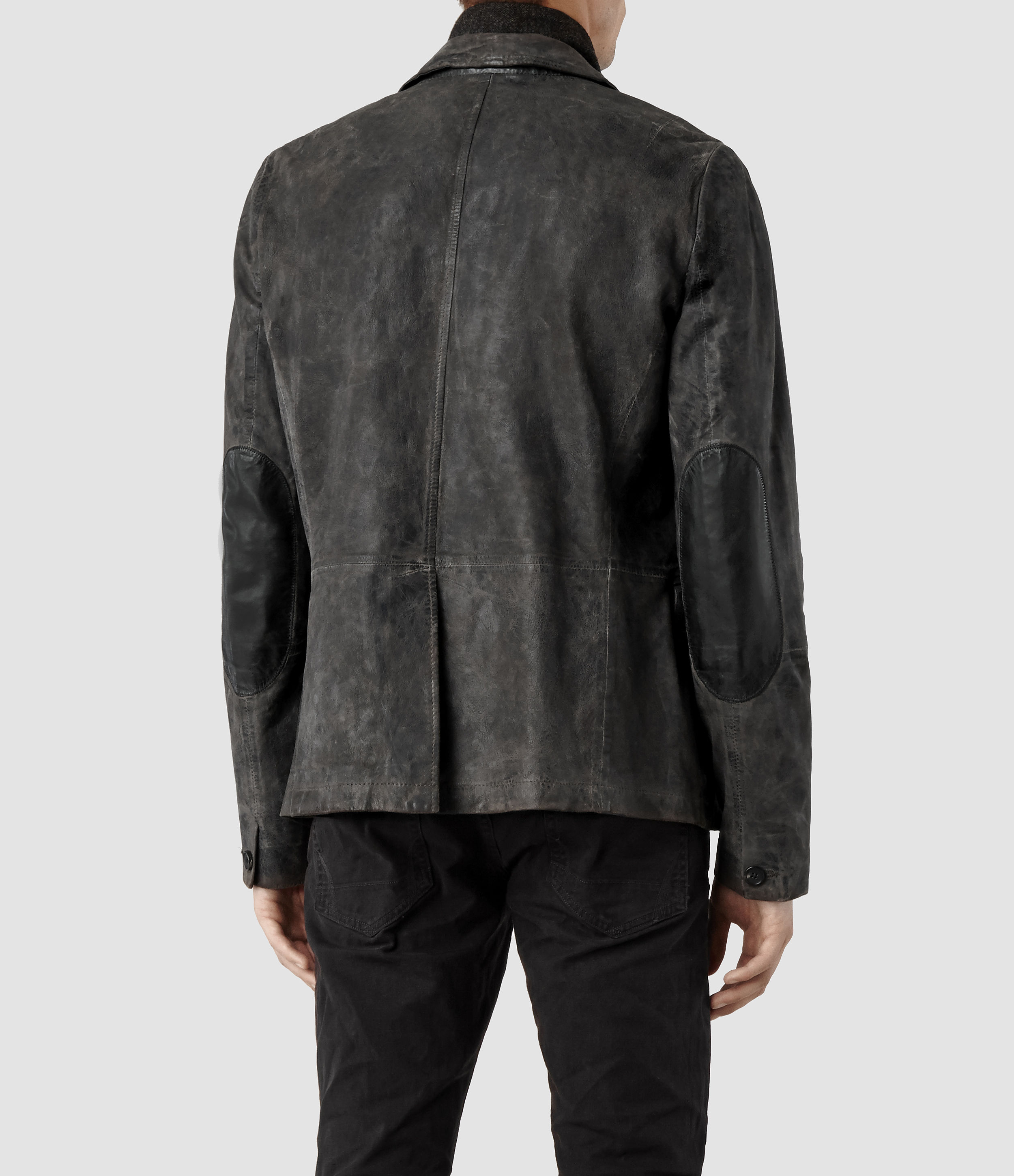 Allsaints Survey Leather Blazer In Gray For Men Lyst