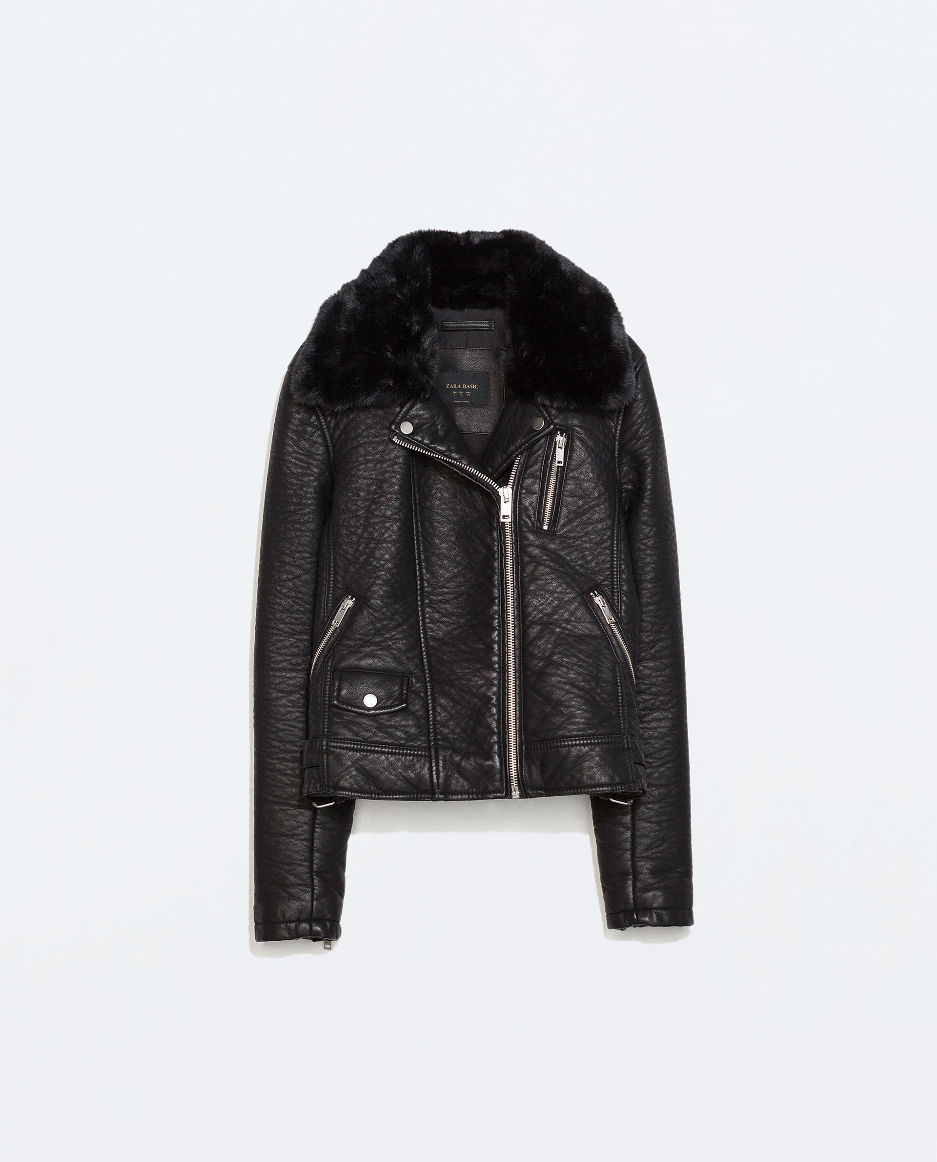 7c7d8733b4d6 Zara Faux Leather Jacket with Detachable Fur Collar in .