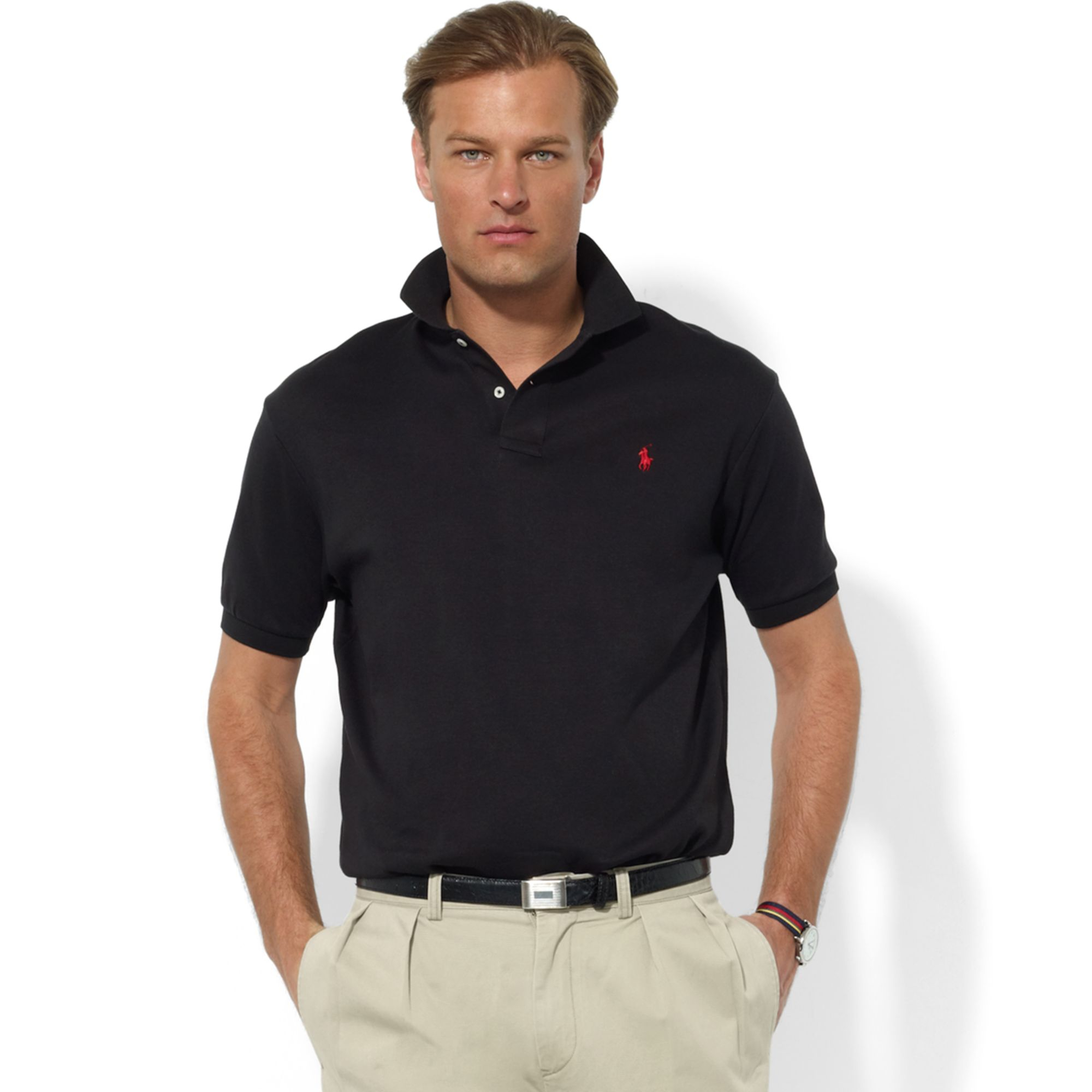 Lyst ralph lauren classic fit interlock core polo shirt for Black fitted polo shirt