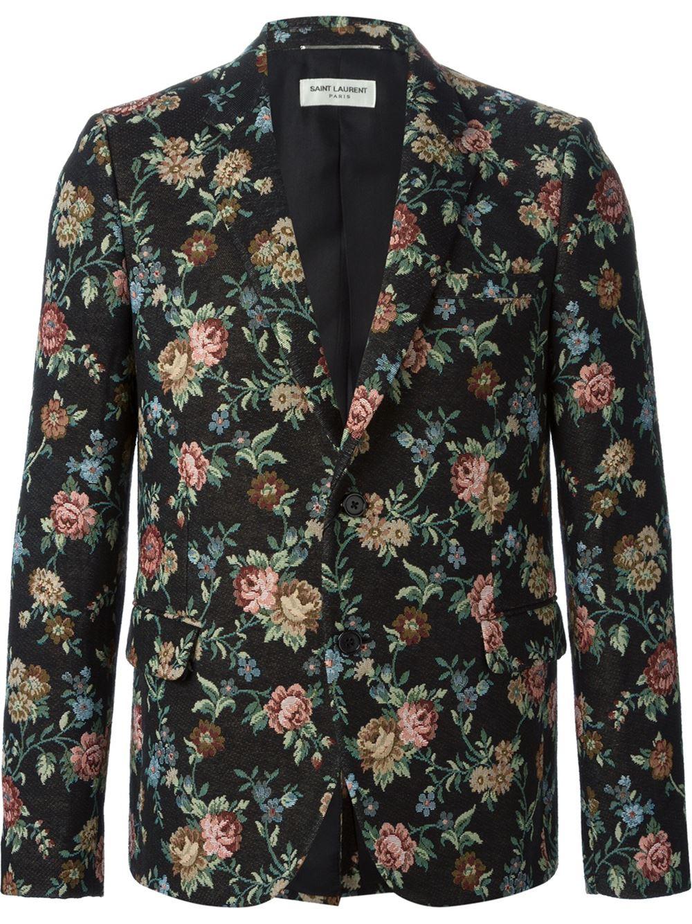 0469d62286b Saint Laurent Floral Jacquard Blazer in Black for Men - Lyst