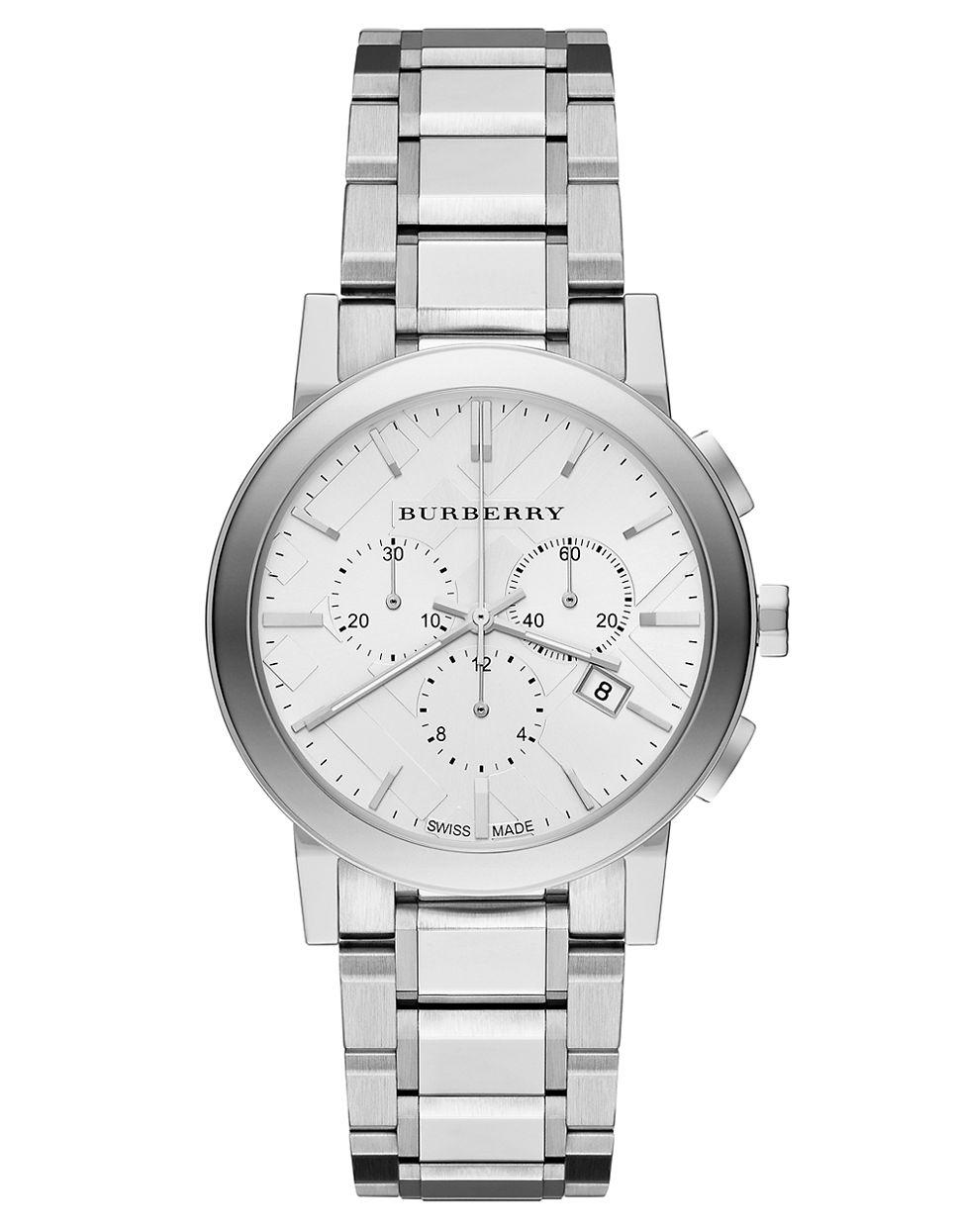 burberry mens the city chronograph watch in metallic for