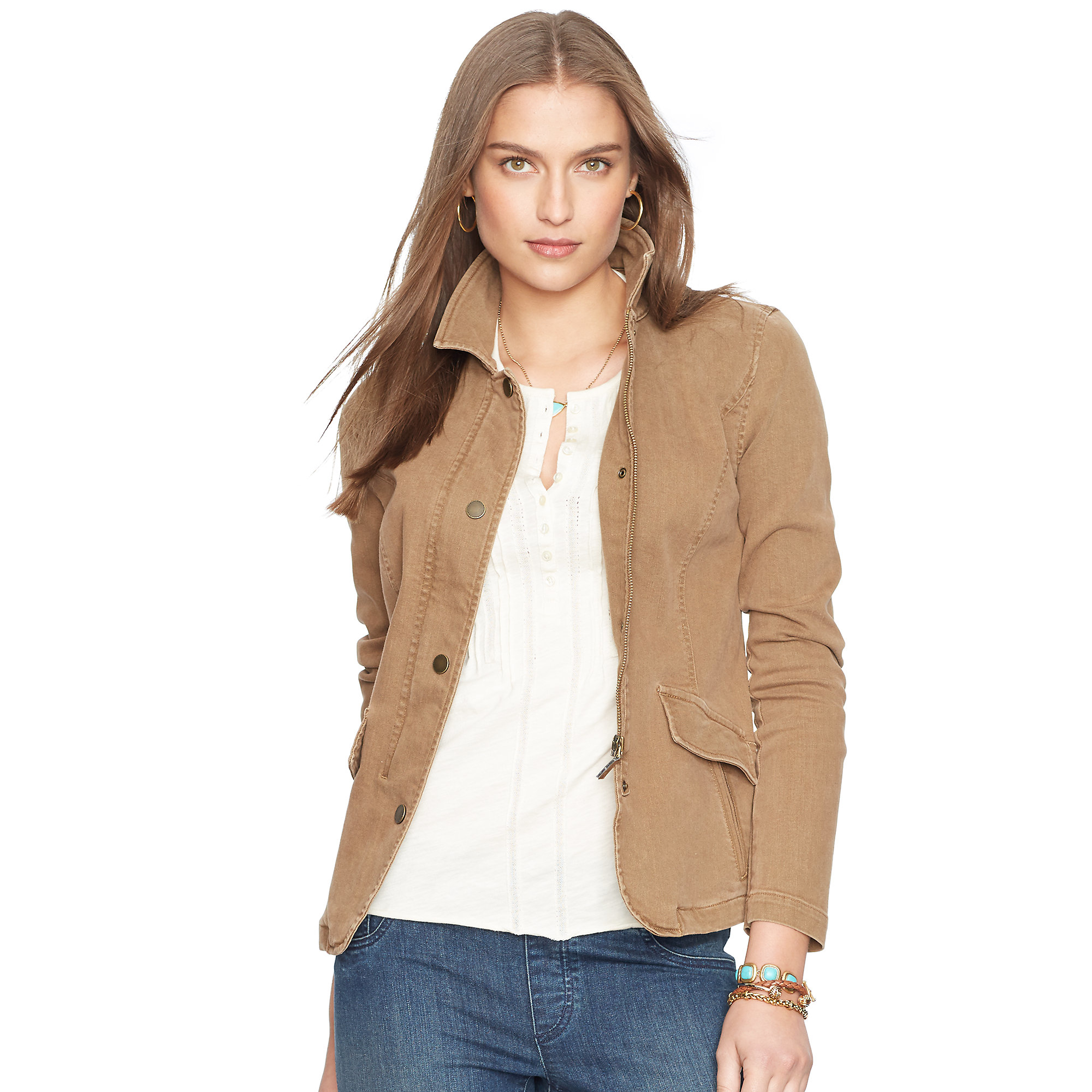 Ralph lauren Stretch Denim Jacket in Brown | Lyst