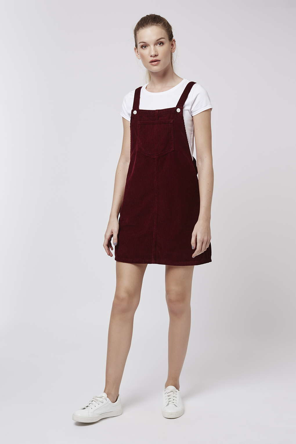 Lyst Topshop Tall Moto Cord Pinafore Dress In Purple