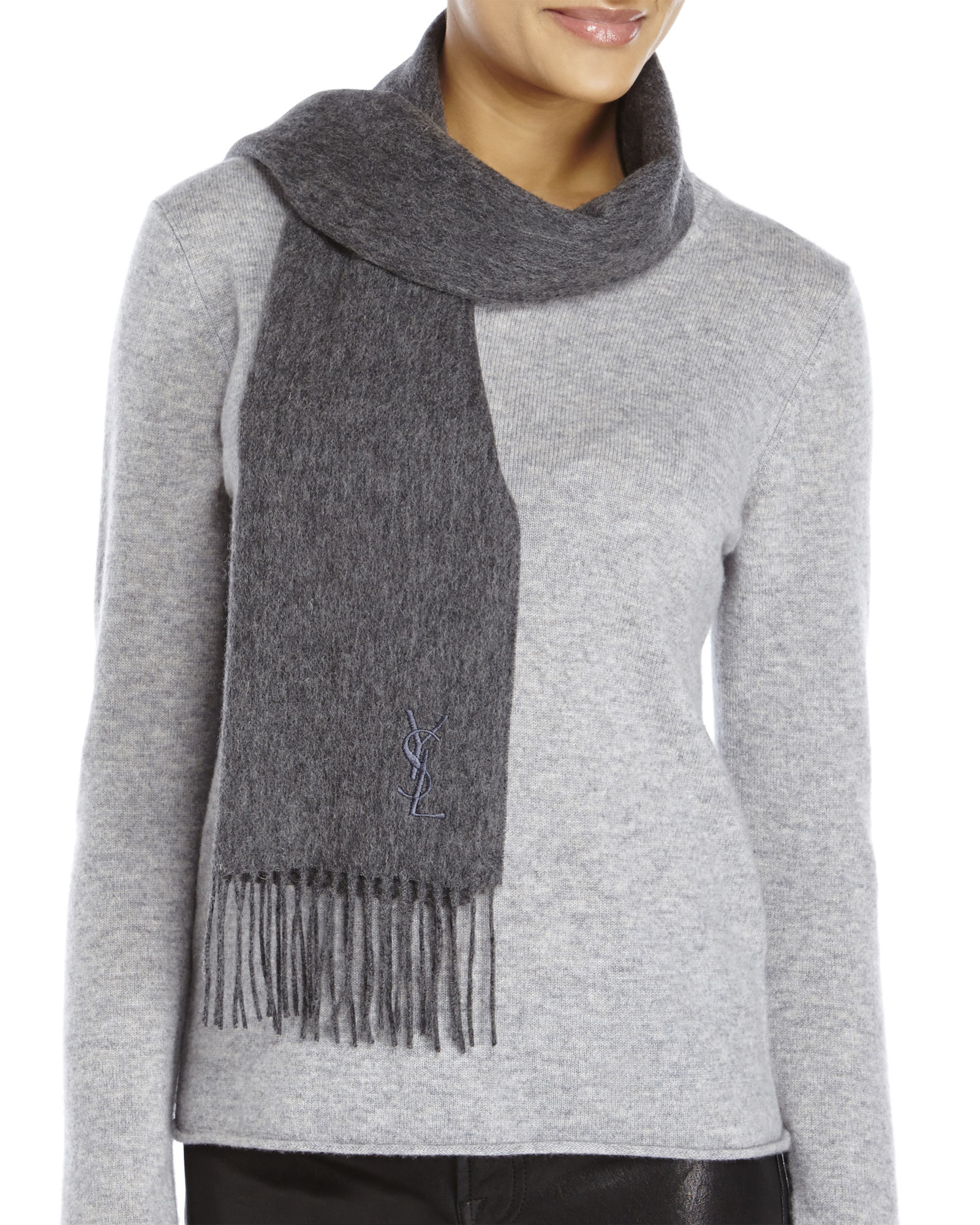 laurent embroidered wool scarf in gray lyst