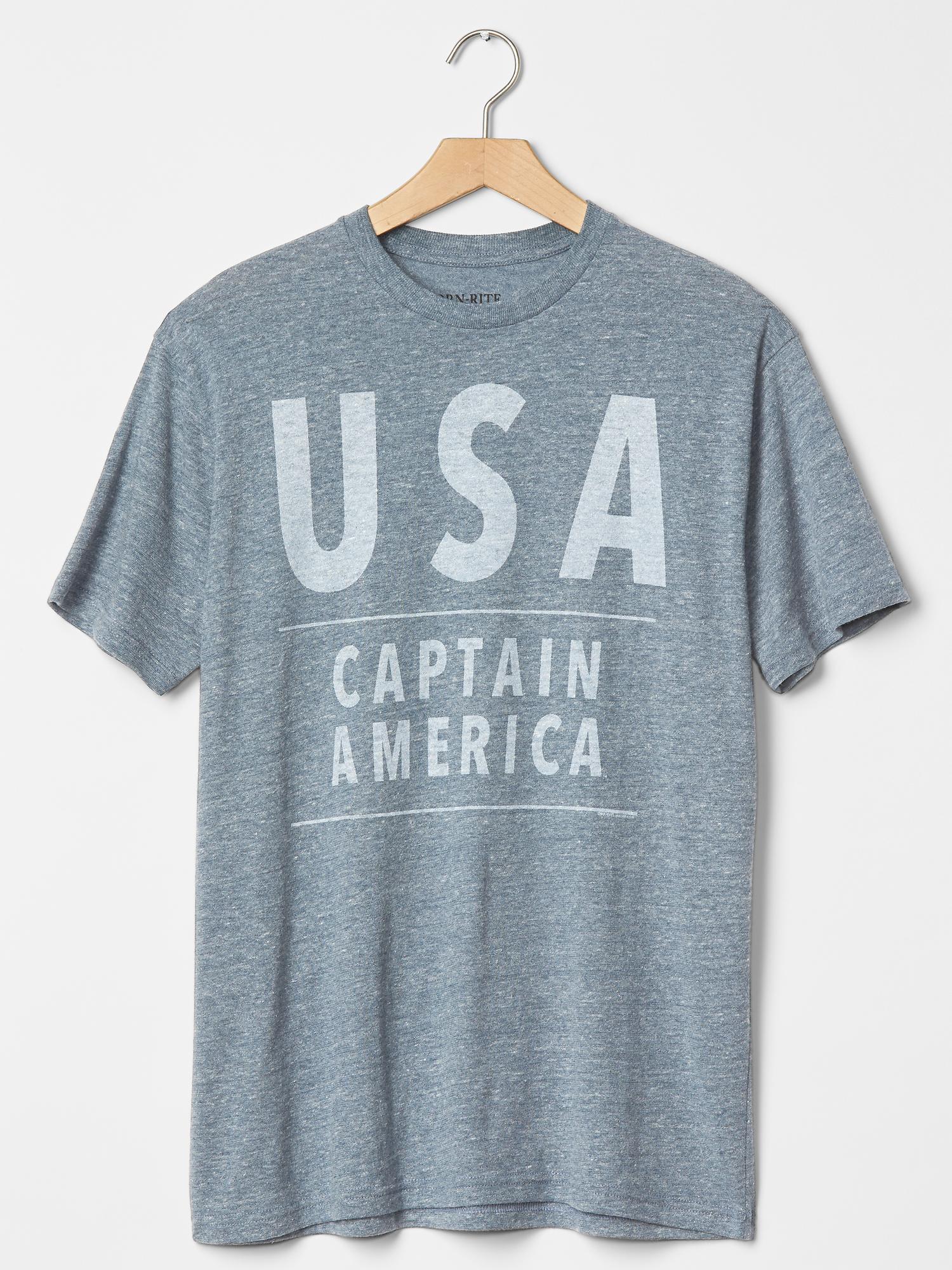 gap usa captain america t shirt in blue for men navy