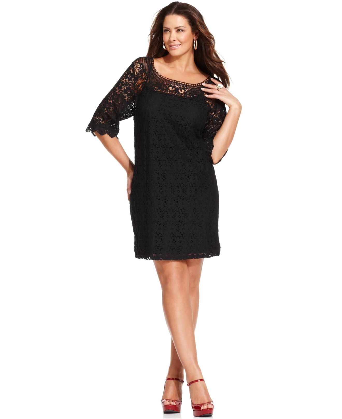 Spense Plus Size Three-quarter-sleeve Lace Dress In Black