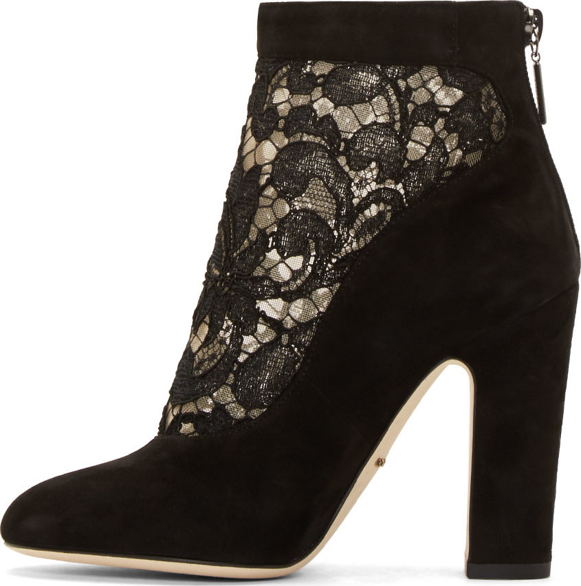Dolce & gabbana Black Lace And Suede Ankle Boots in Black ...