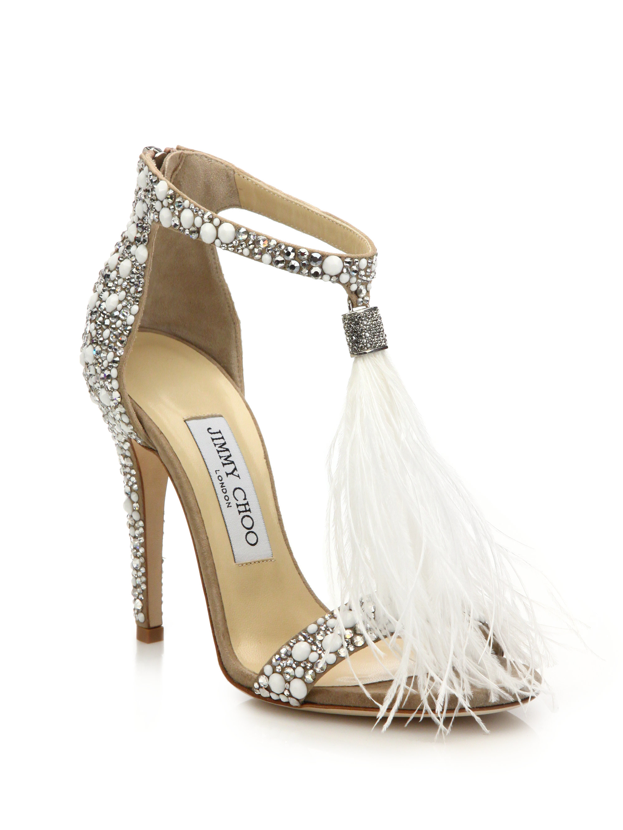 Jimmy Choo Feather-Embellished Suede Sandals cheap great deals extremely online cheap sale with credit card cheap price low shipping fee for cheap sale online OSdzKee