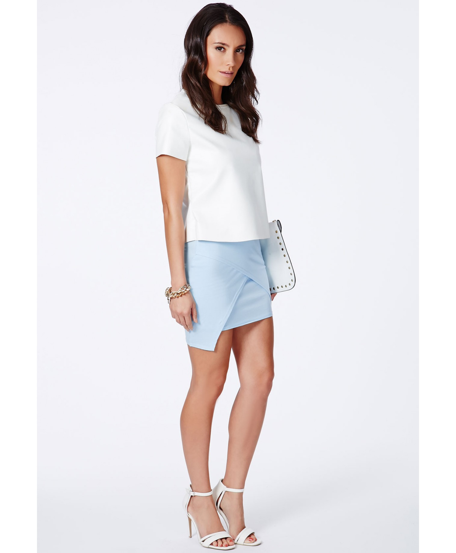 Missguided Lennia Wrap Over Mini Skirt In Baby Blue in Blue | Lyst