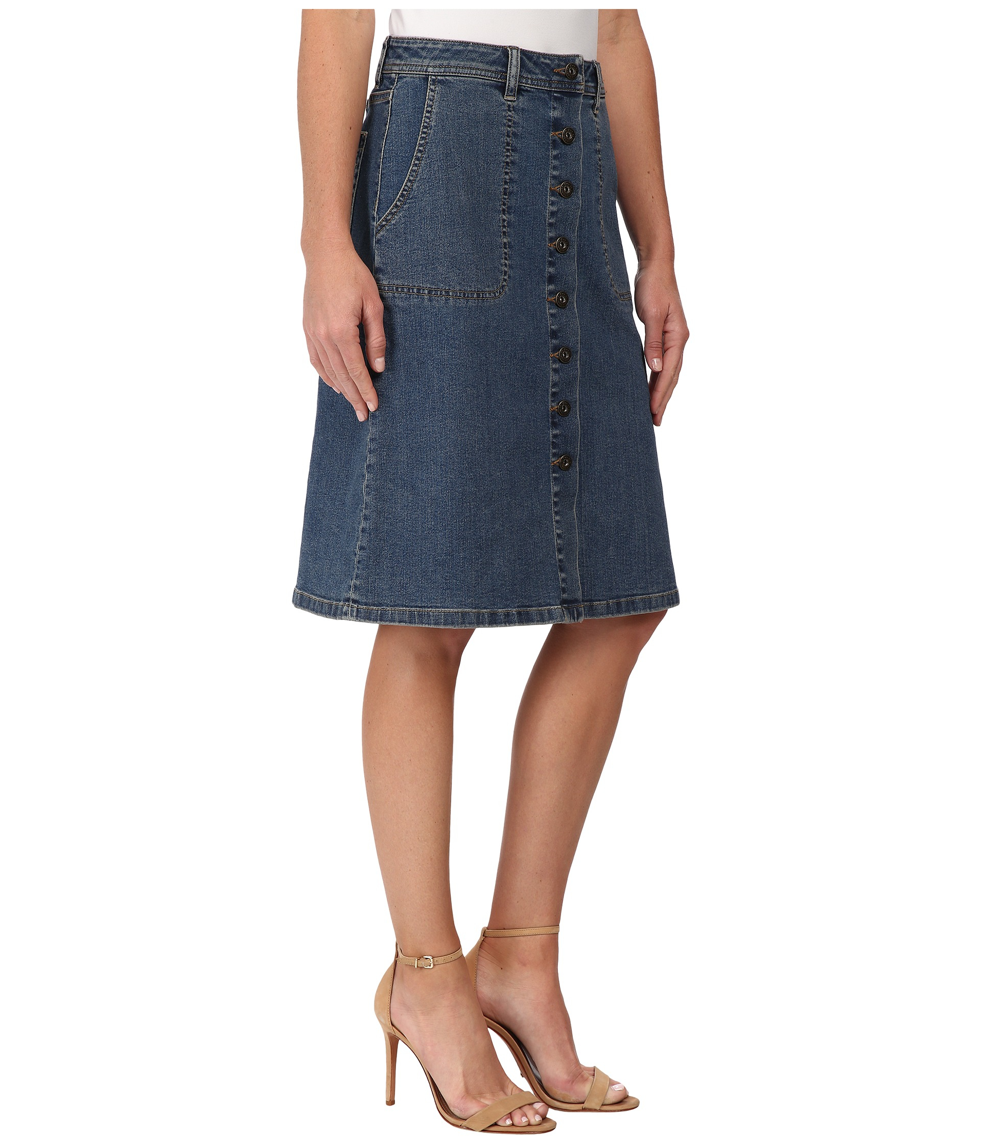 Two by vince camuto Denim A-line Button Front Midi Skirt in Blue ...
