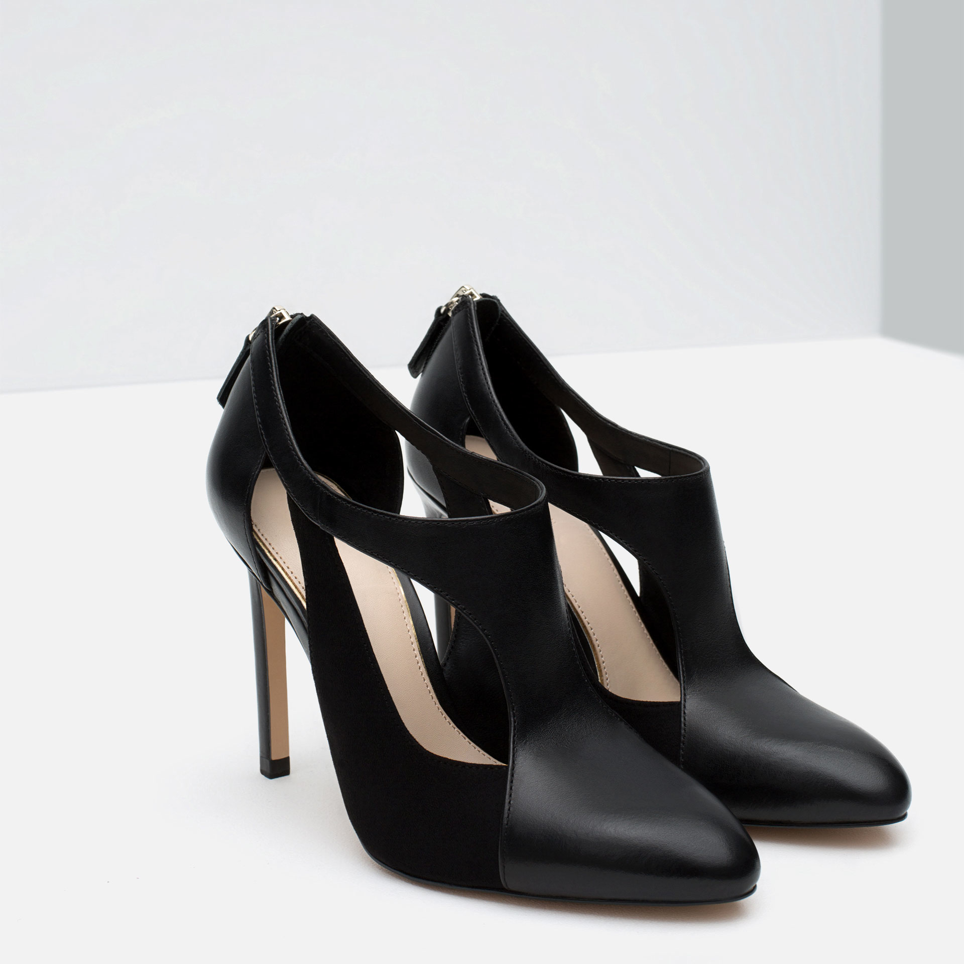 zara contrast leather high heel shoes in black lyst