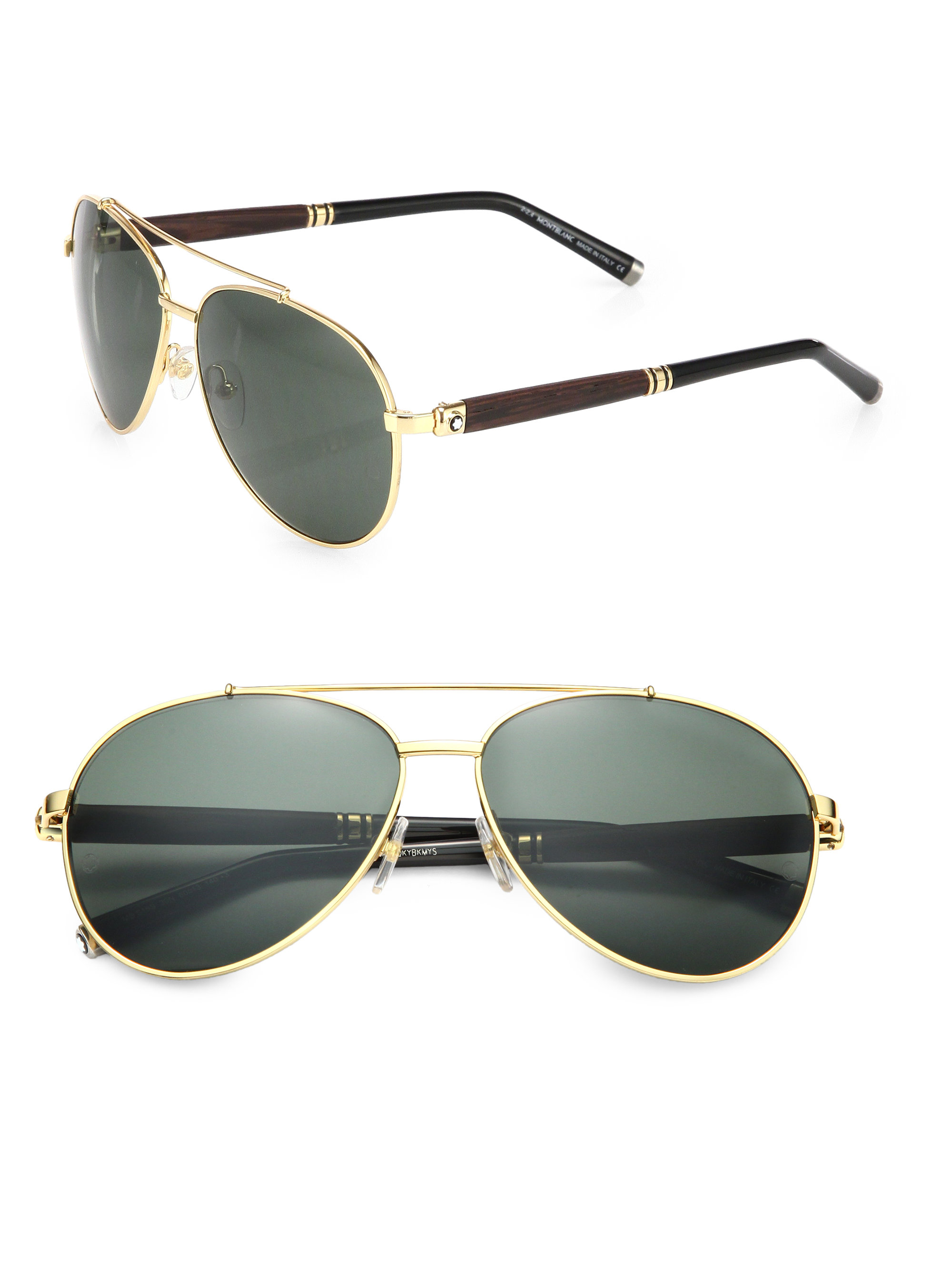 bd9cf221bab5d Montblanc 62mm Metal Aviator Sunglasses in Metallic for Men - Lyst