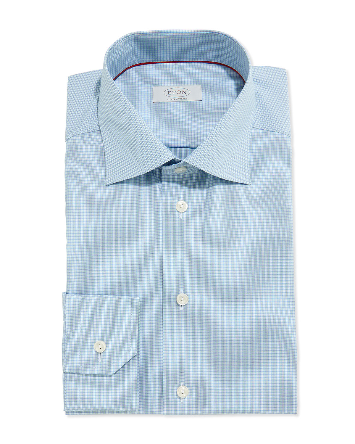 Lyst eton of sweden small check dress shirt in blue for men for Blue check dress shirt