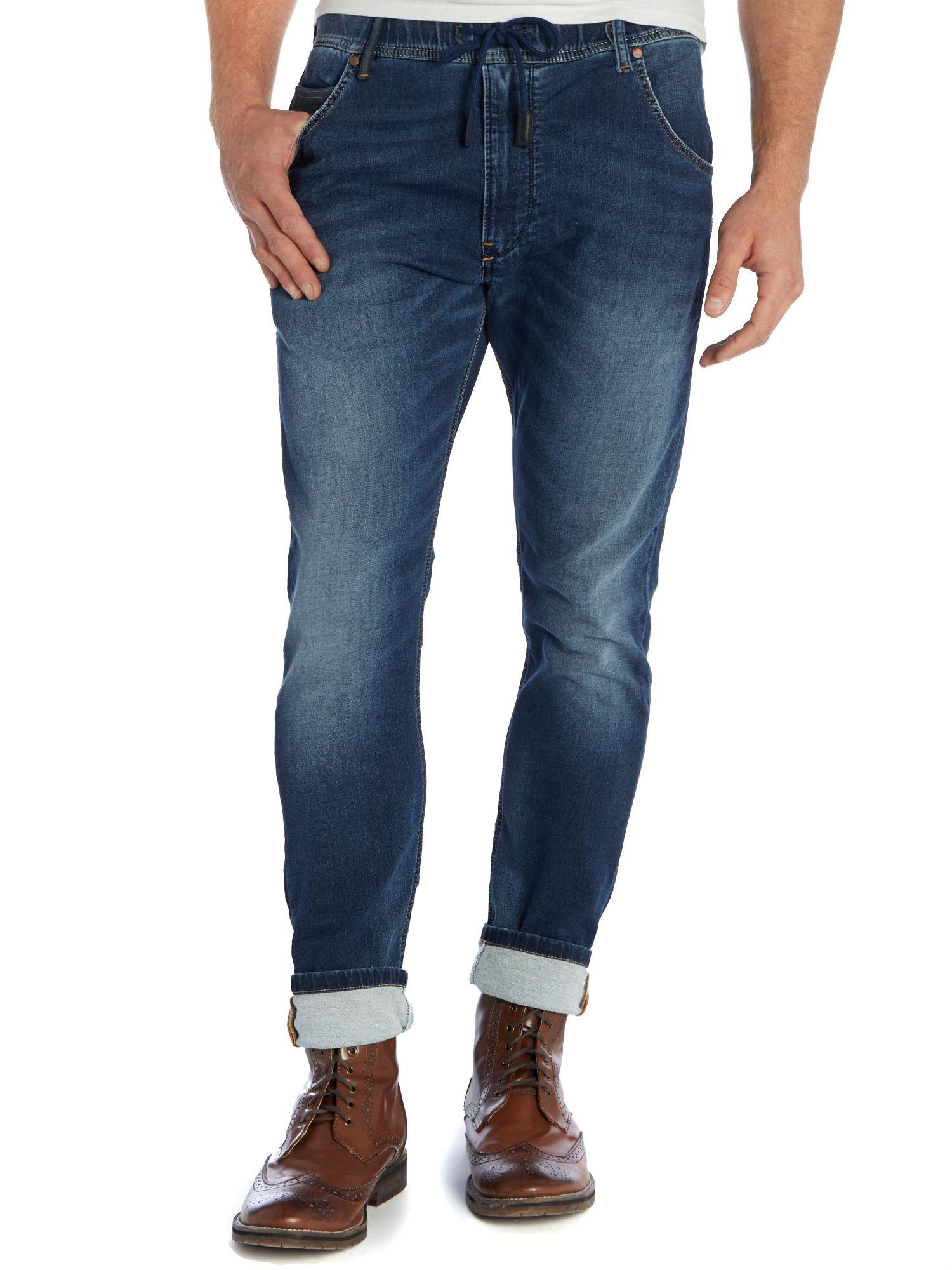 diesel krooley 607r skinny mid wash jogg jeans in blue for. Black Bedroom Furniture Sets. Home Design Ideas