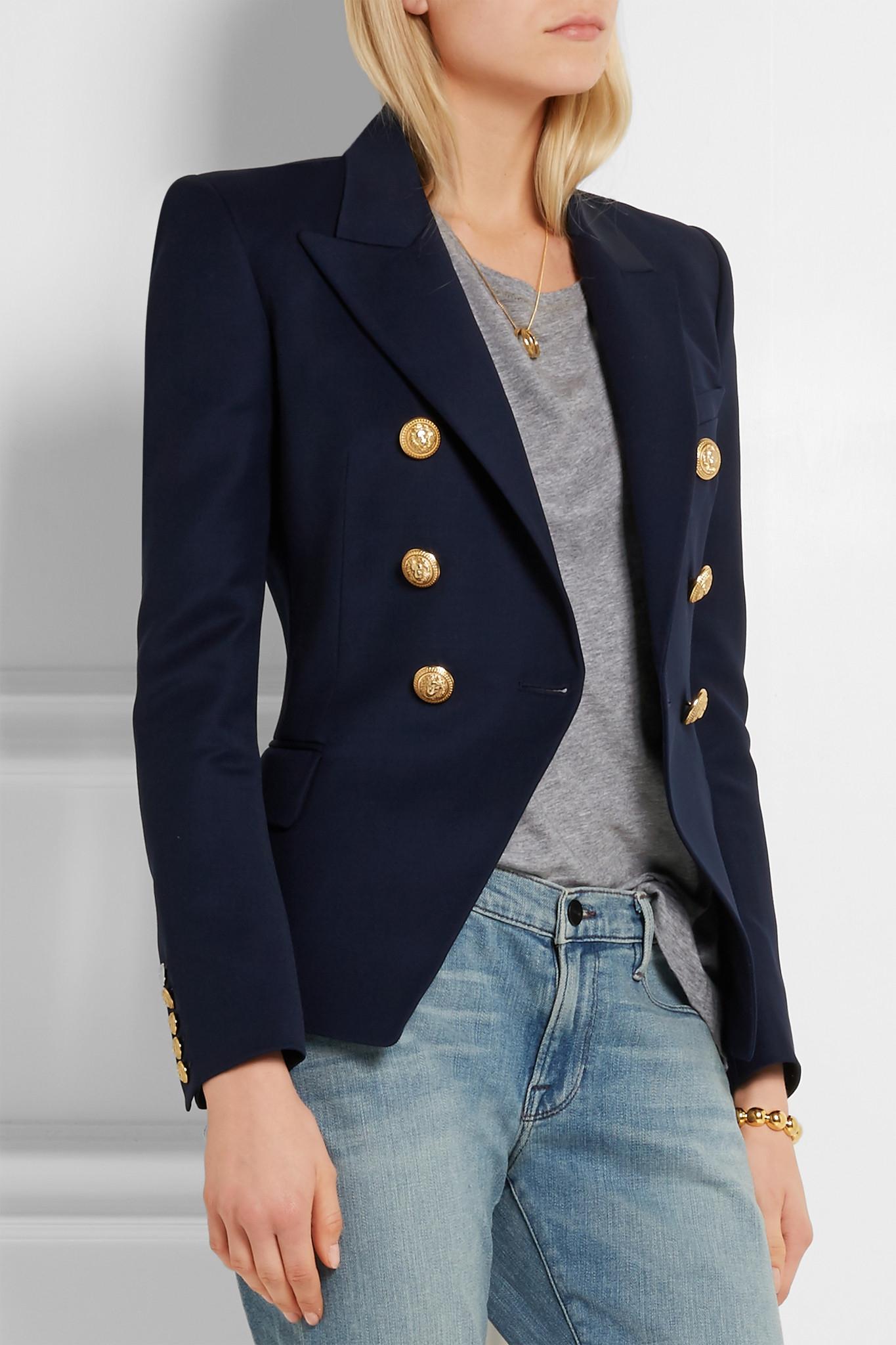fec30861fc8e Balmain Double-breasted Wool-twill Blazer in Blue - Lyst