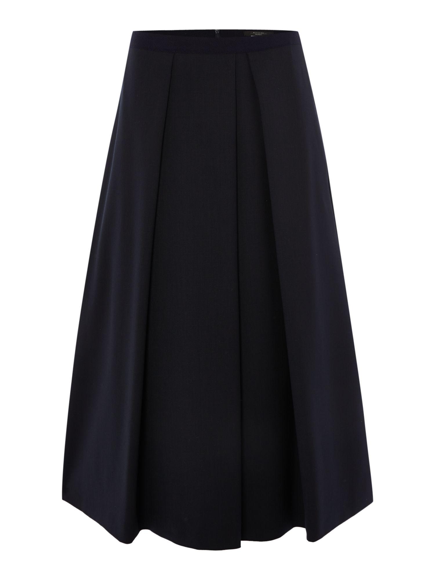 Max mara Necton Pleated Virgin Wool Midi Skirt in Black | Lyst