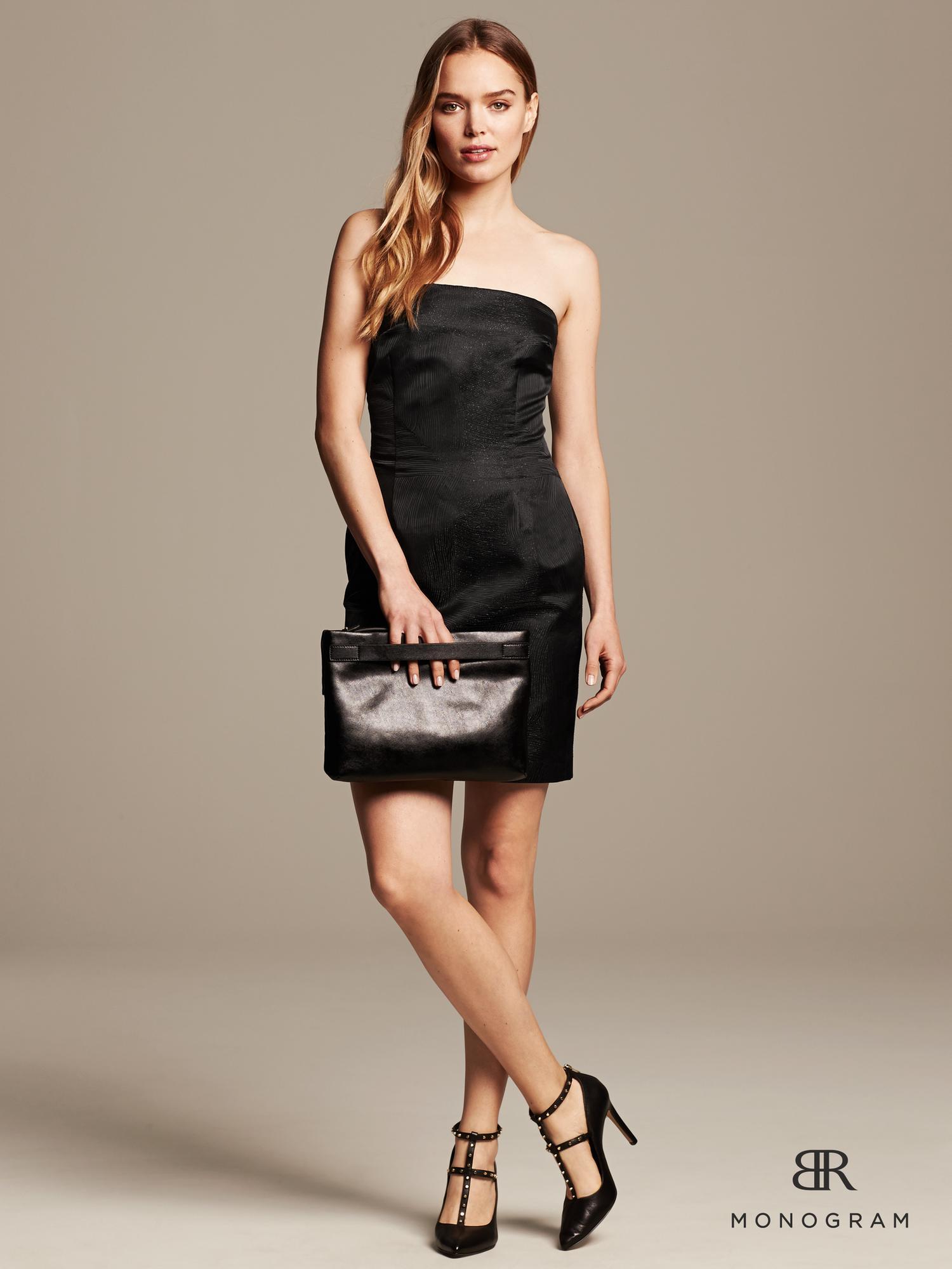 c6cf35d0397 Banana Republic Br Monogram Strapless Shine Dress in Black - Lyst