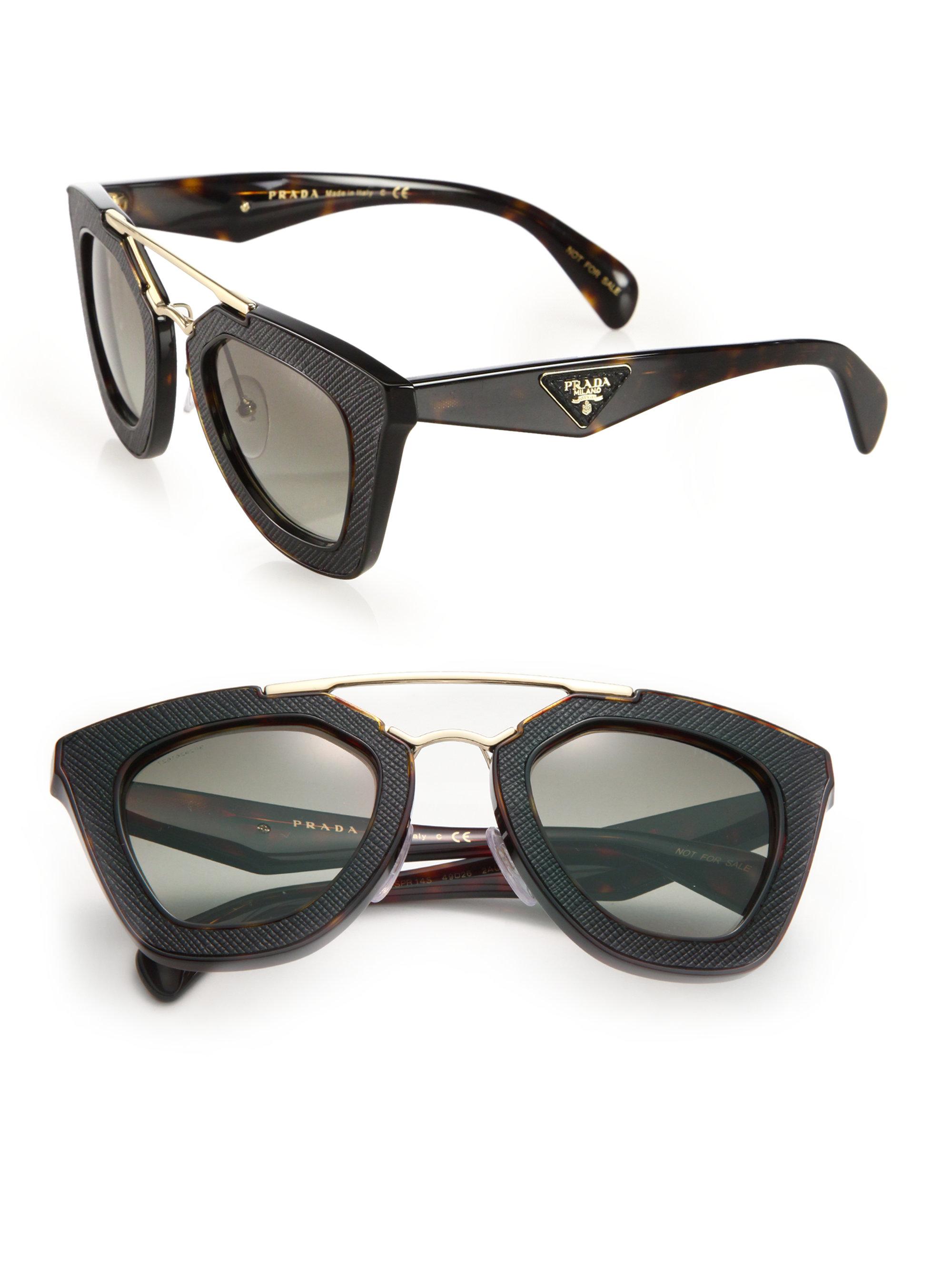 32f8b3714d07 ... promo code for lyst prada ornate 14ss 49mm saffiano leather sunglasses  in black 1aba4 36914