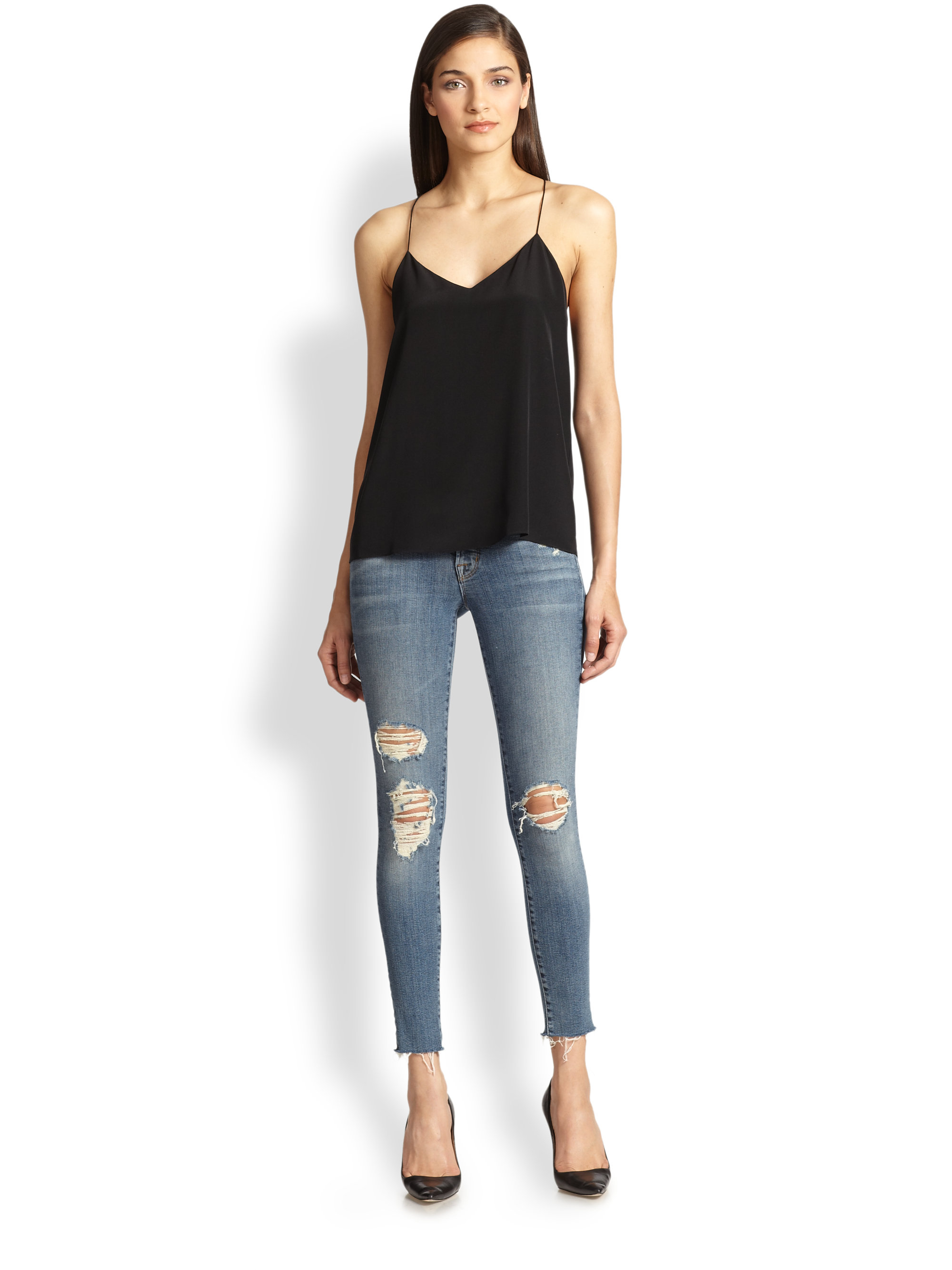 J brand Distressed Cropped Skinny Jeans in Blue | Lyst