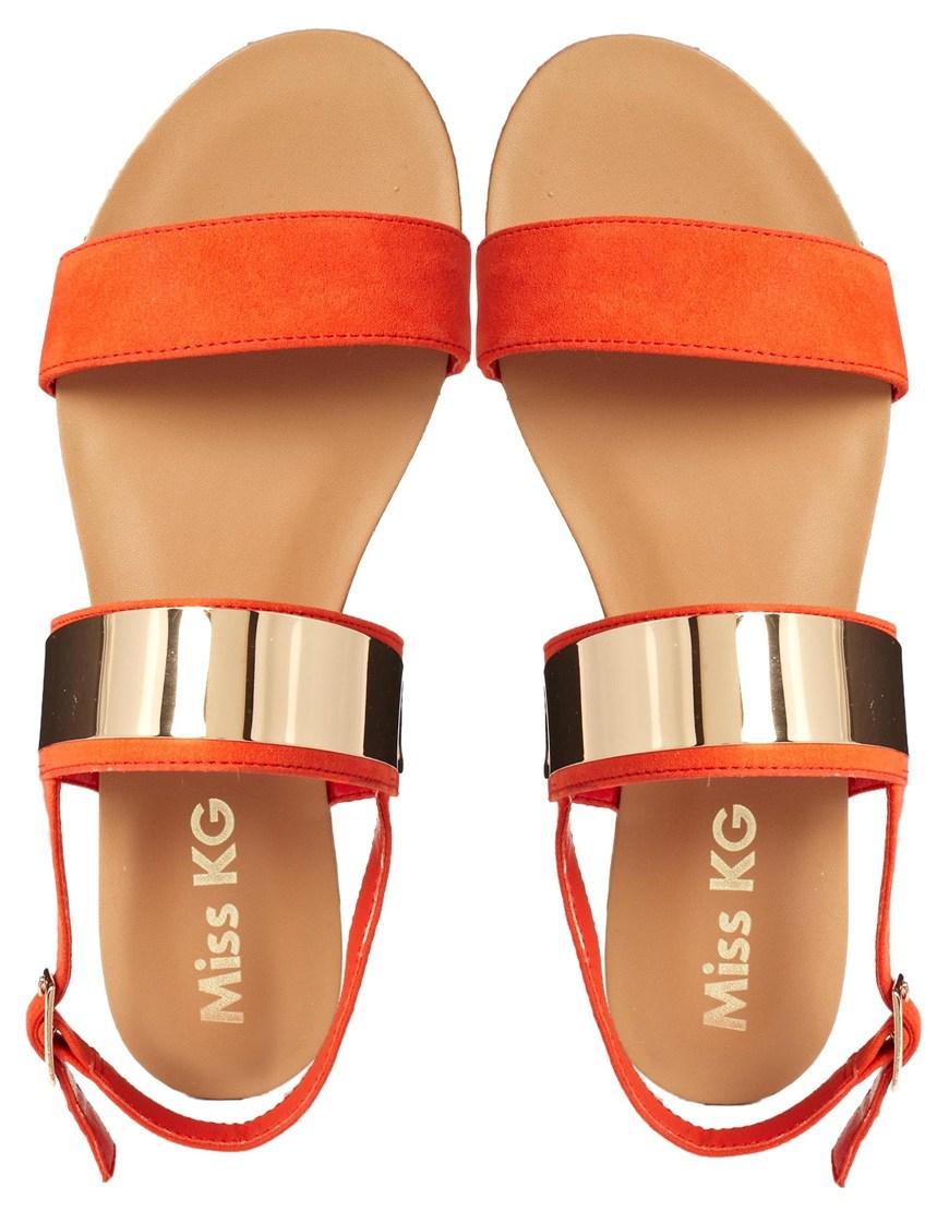 Lyst Miss Kg Dawn Orange Nudette Two Strap Sandals In Orange