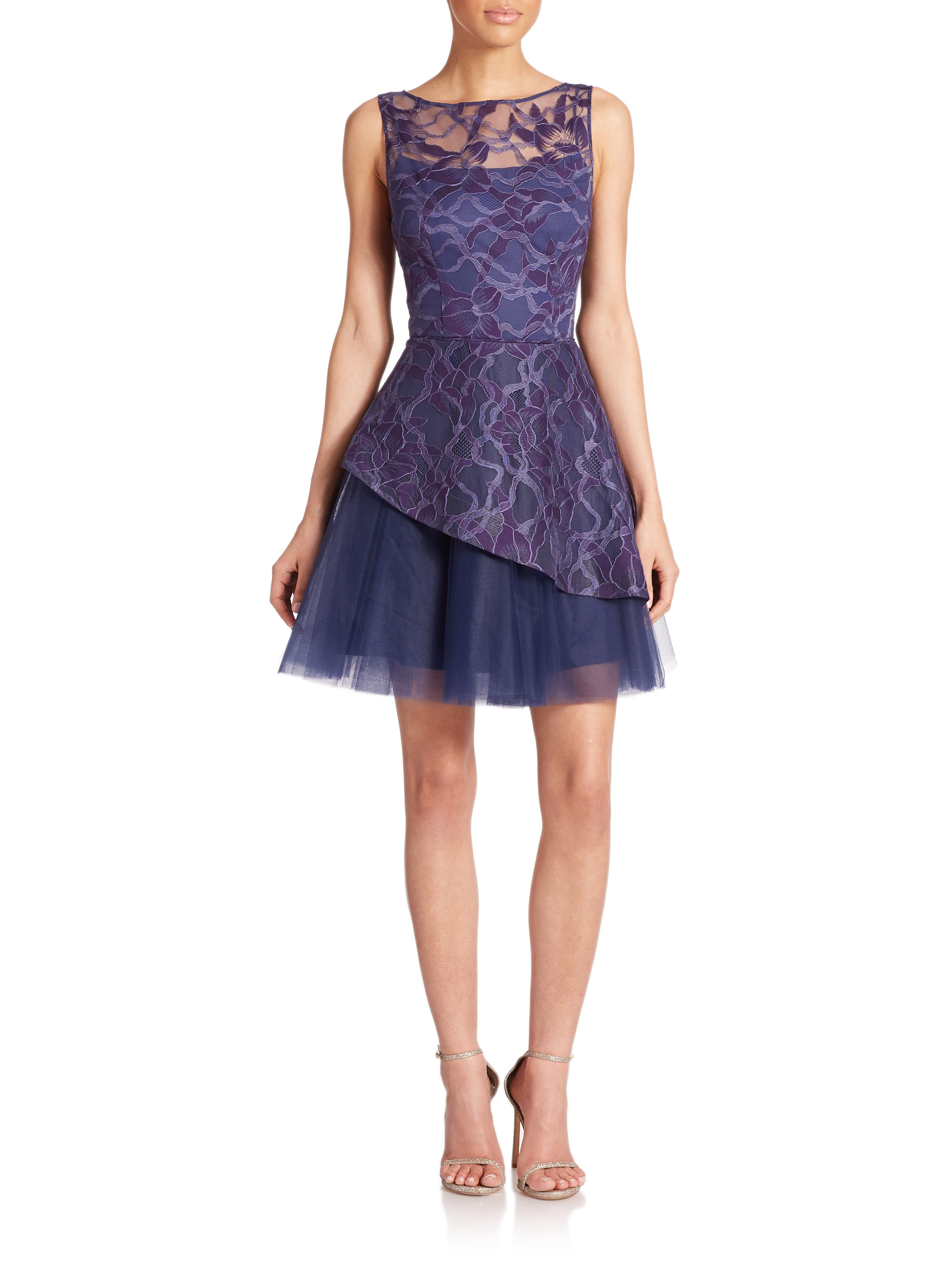 Lyst Nha Khanh Piper Layered Lace Amp Tulle Dress In Blue