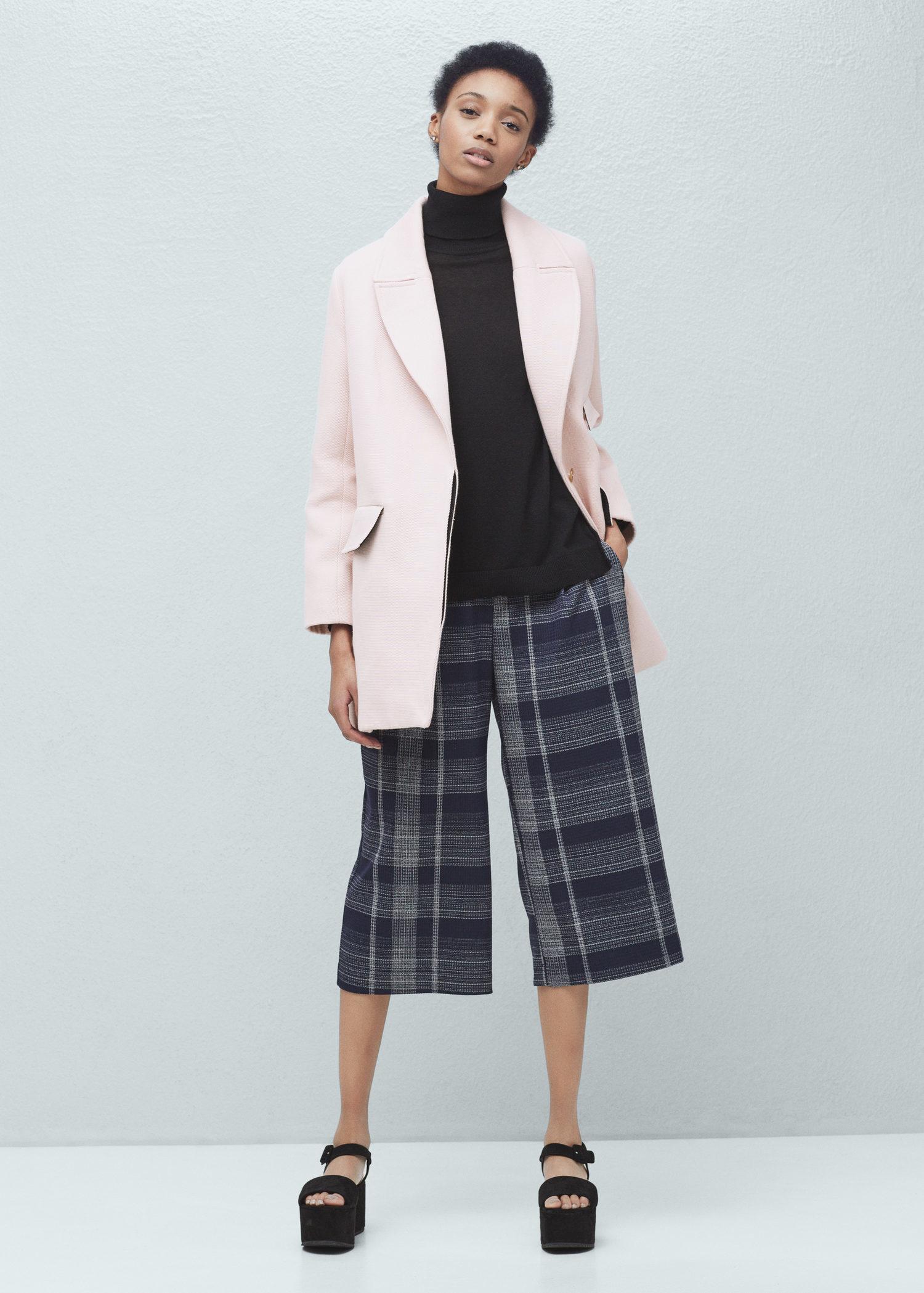 Mango Lapels Cotton Coat in Pink | Lyst