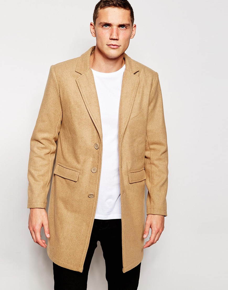 Another influence Wool Blend Contrast Overcoat in Brown for Men   Lyst