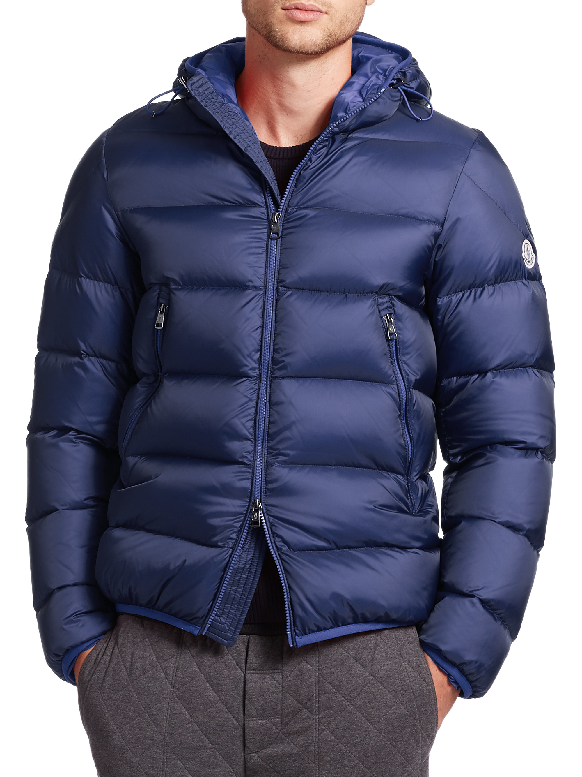 Moncler Chauvon Hooded Down Jacket in Blue for Men | Lyst