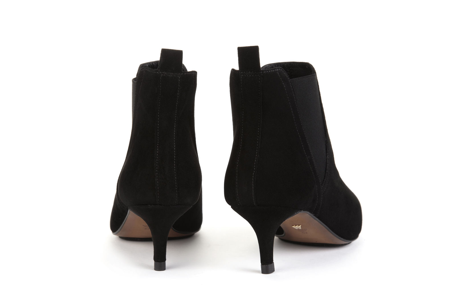Black Kitten Heel Boots Leather