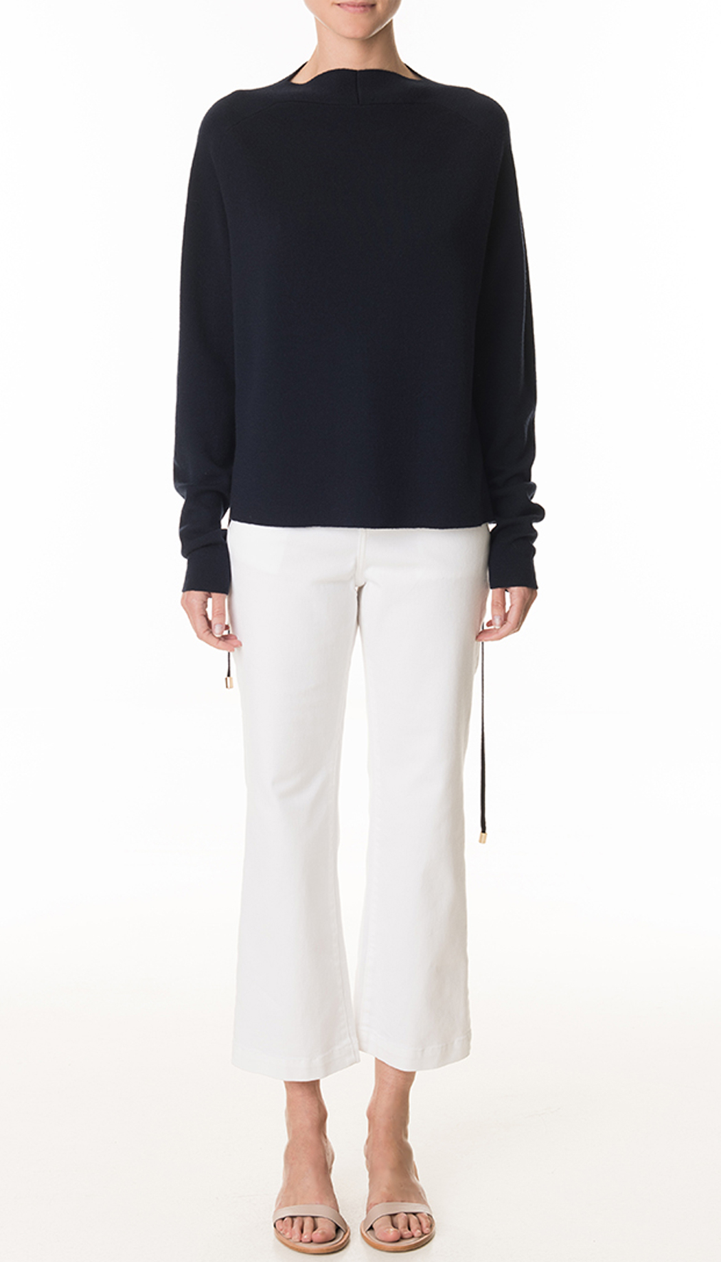 Tibi White Denim Cropped Flare Jeans in White | Lyst